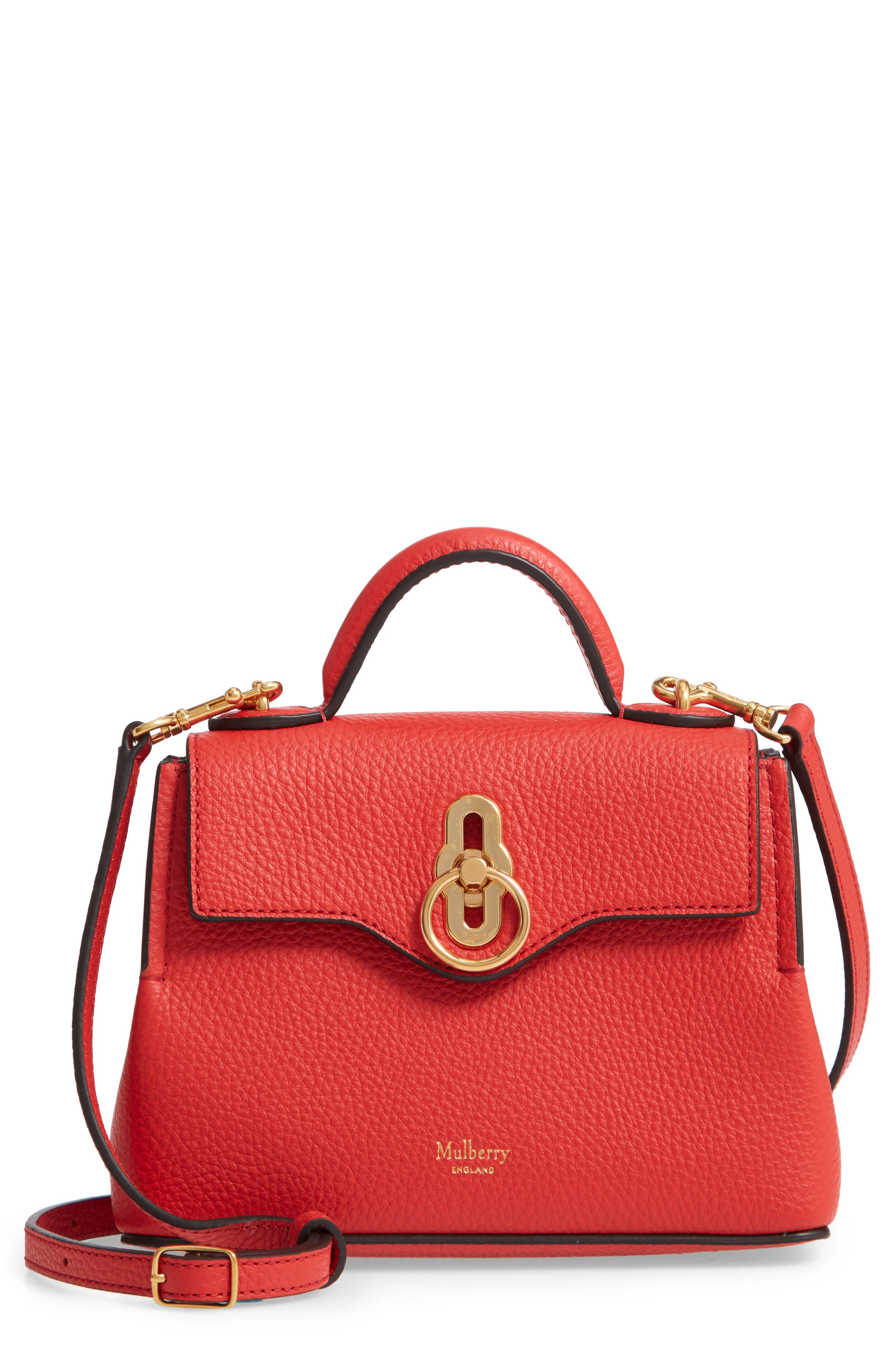 MULBERRY,                             Micro Seaton Leather Convertible Crossbody Bag,                             Main thumbnail 1, color,                             HIBISCUS RED