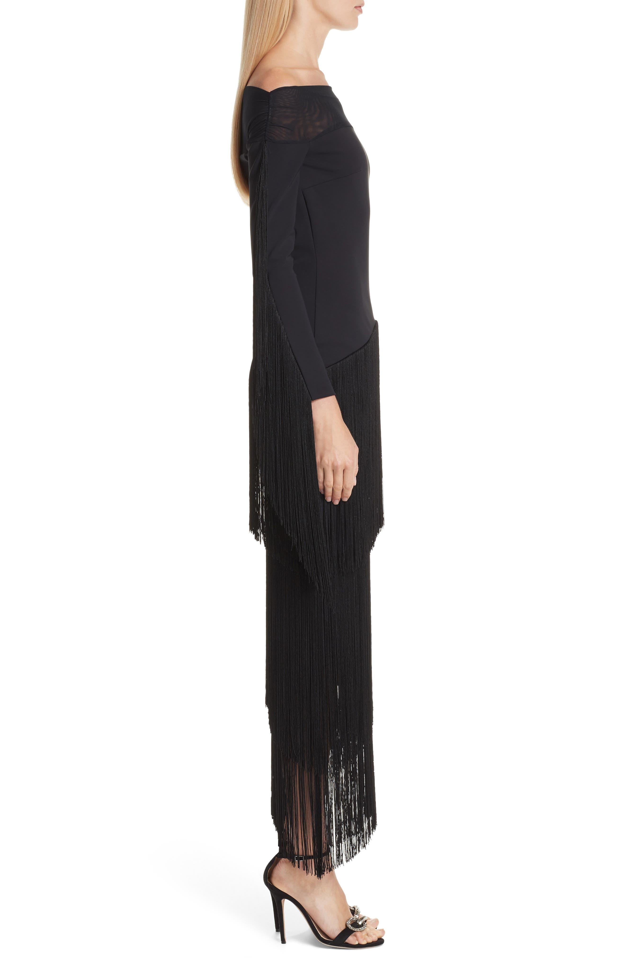 Hadel Fringe Trim Gown,                             Alternate thumbnail 3, color,                             BLACK