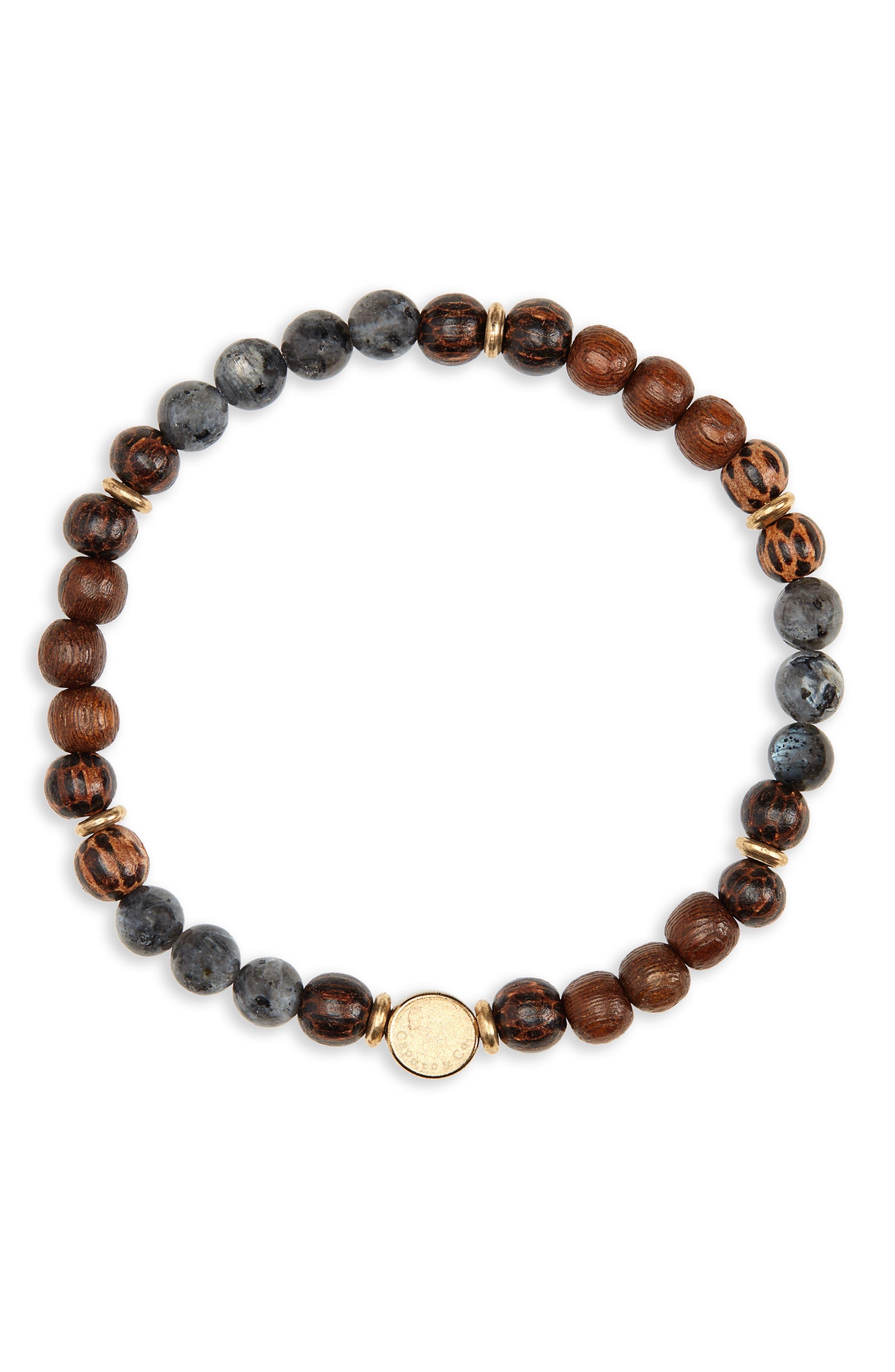 CAPUTO & CO. Stone & Wood Bead Bracelet in Black/ Wood