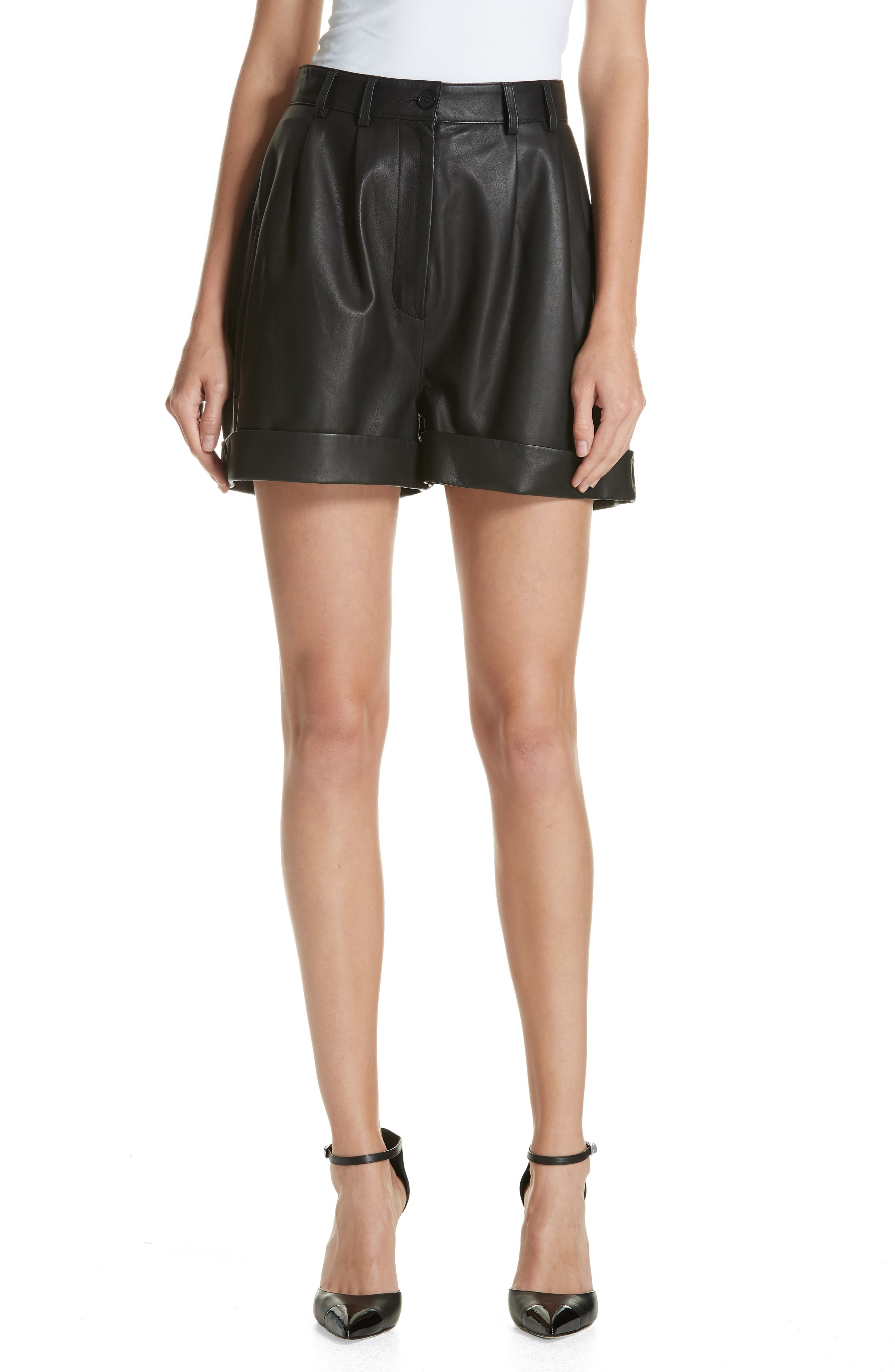 Leather Shorts,                         Main,                         color, BLACK