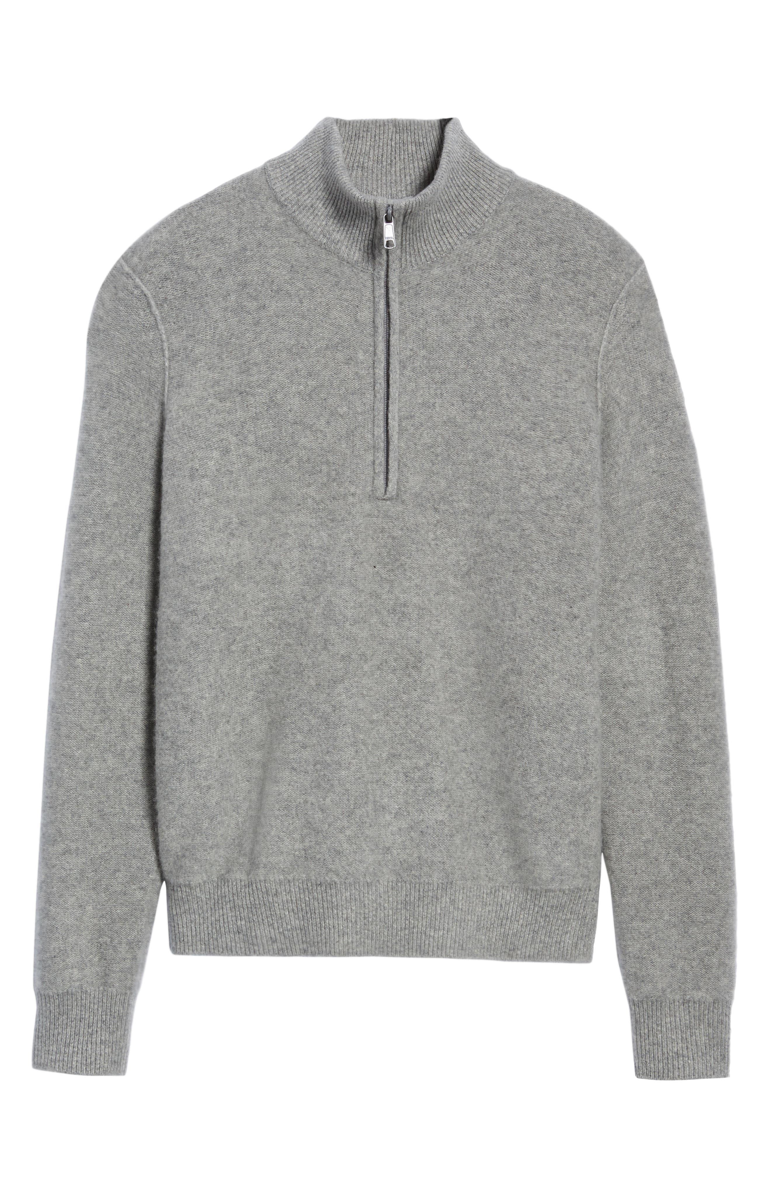 Cashmere Quarter Zip Sweater,                             Alternate thumbnail 6, color,                             H GREY