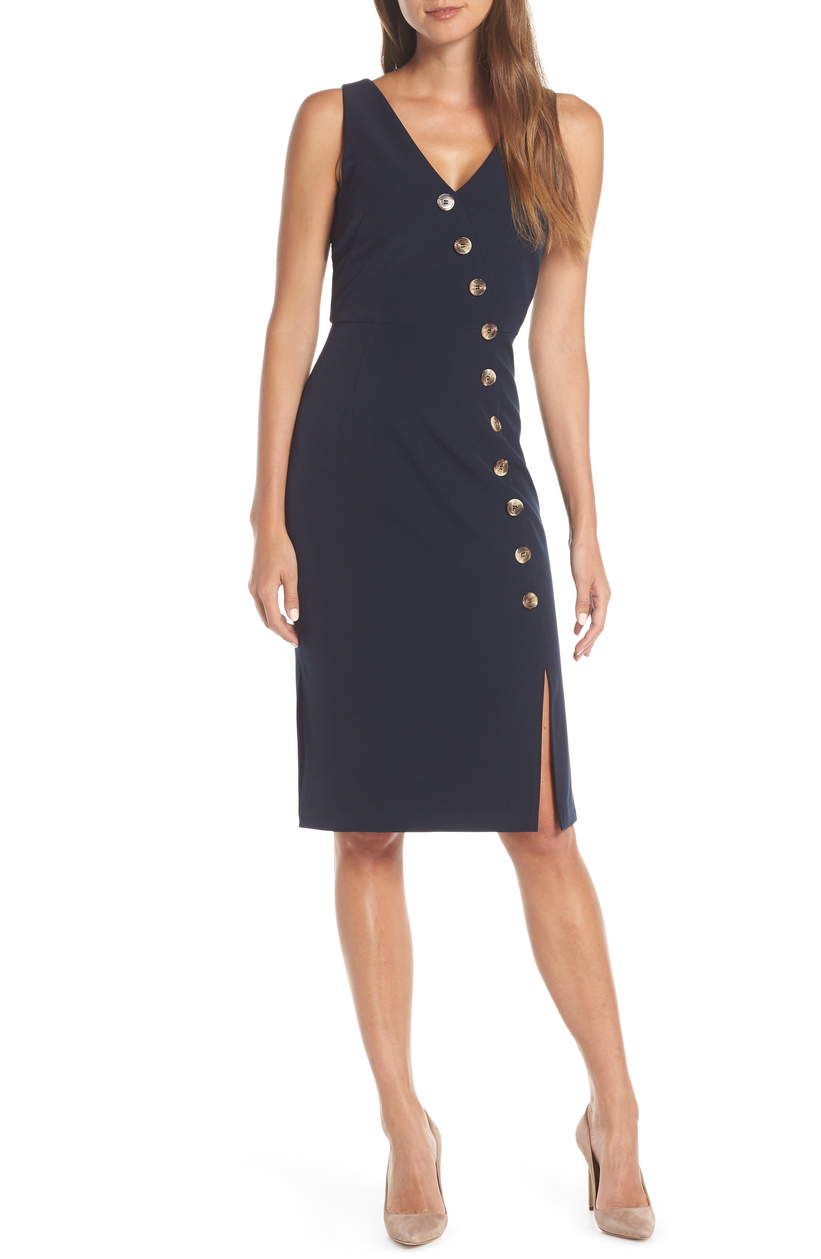Vince Camuto Asymmetrical Button Front Dress, Blue
