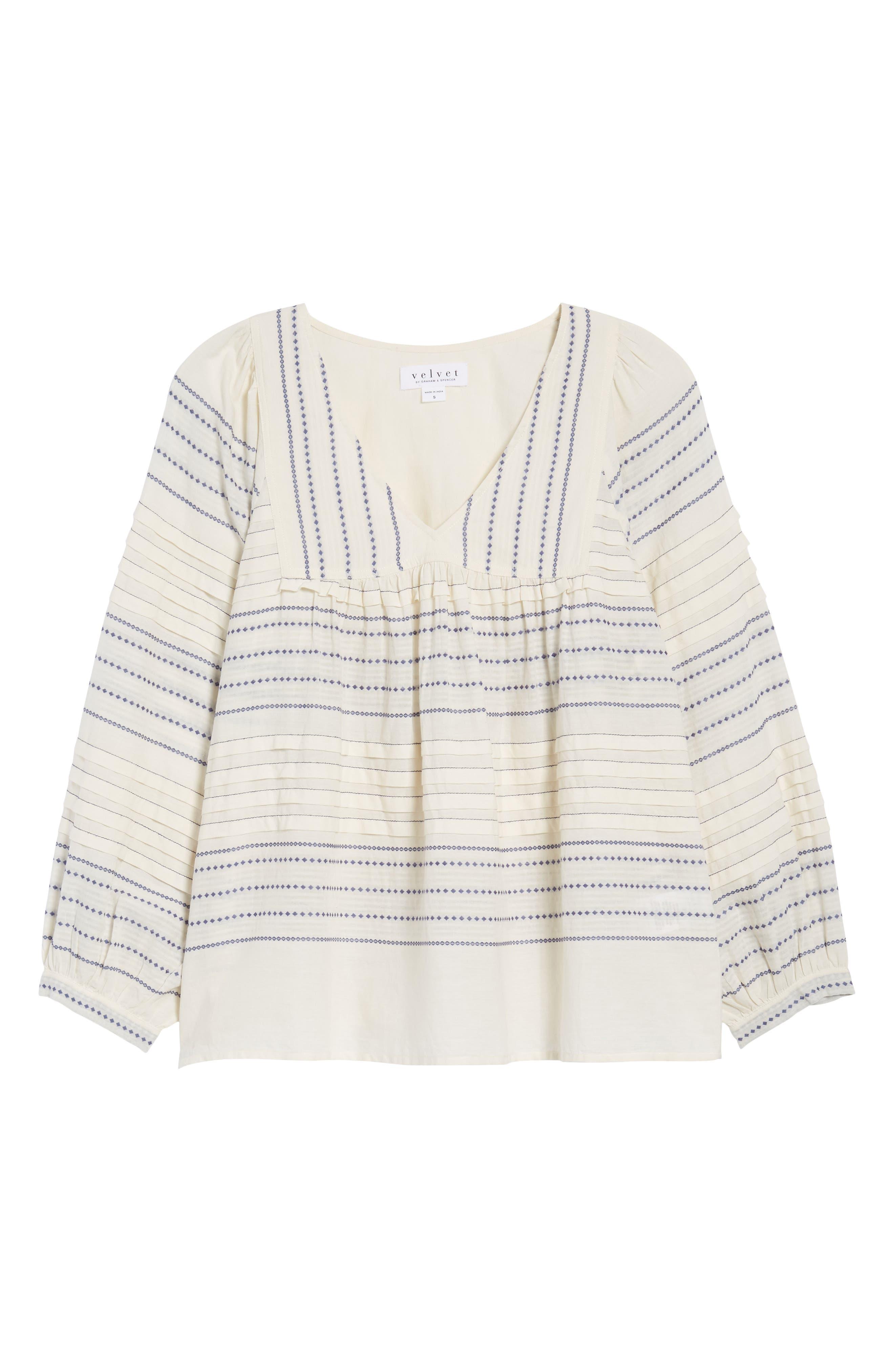 Paros Embroidered Cotton Peasant Blouse,                             Alternate thumbnail 6, color,                             906