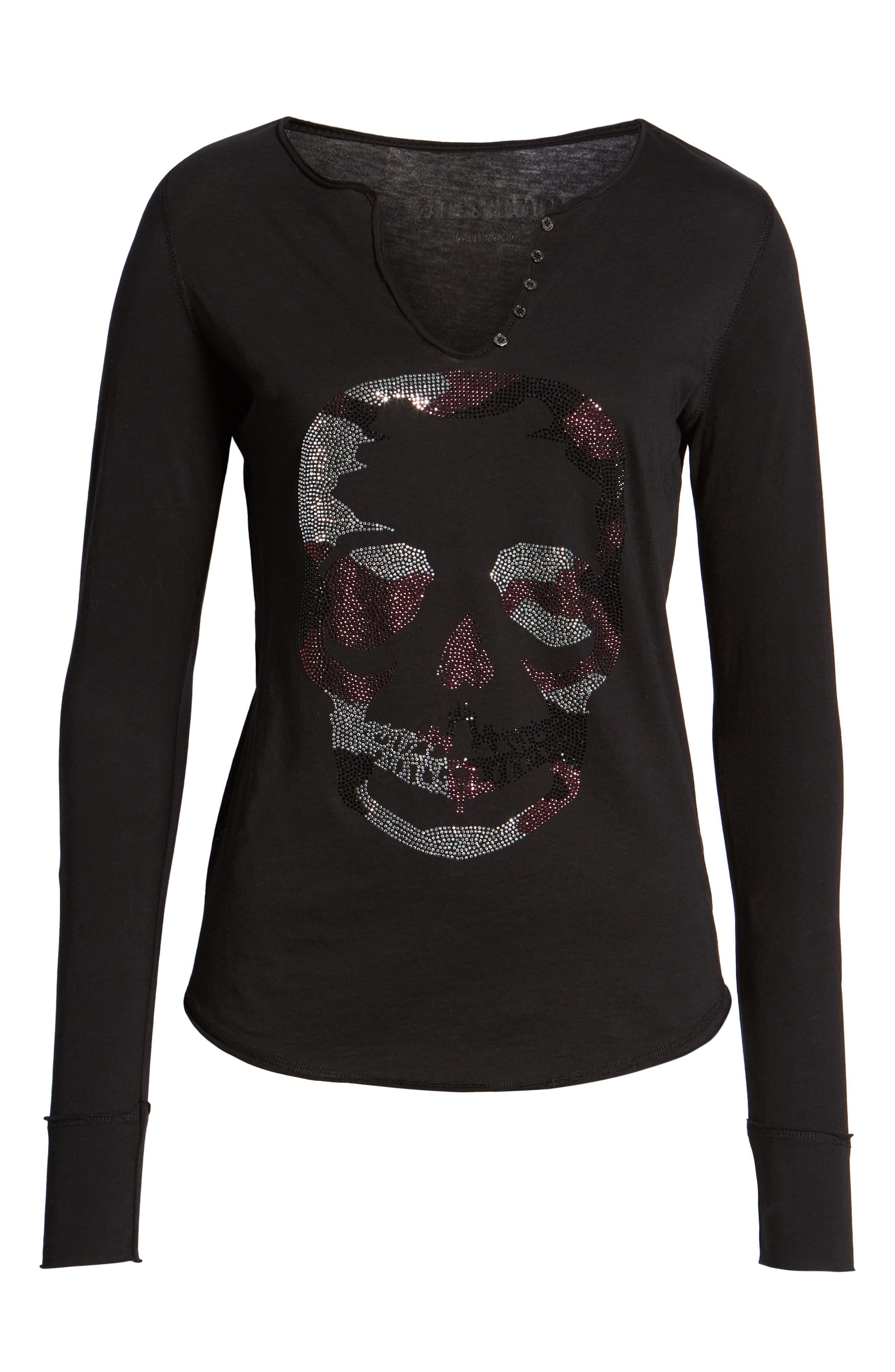 Tunisien Skull Shirt,                             Alternate thumbnail 6, color,                             NOIR