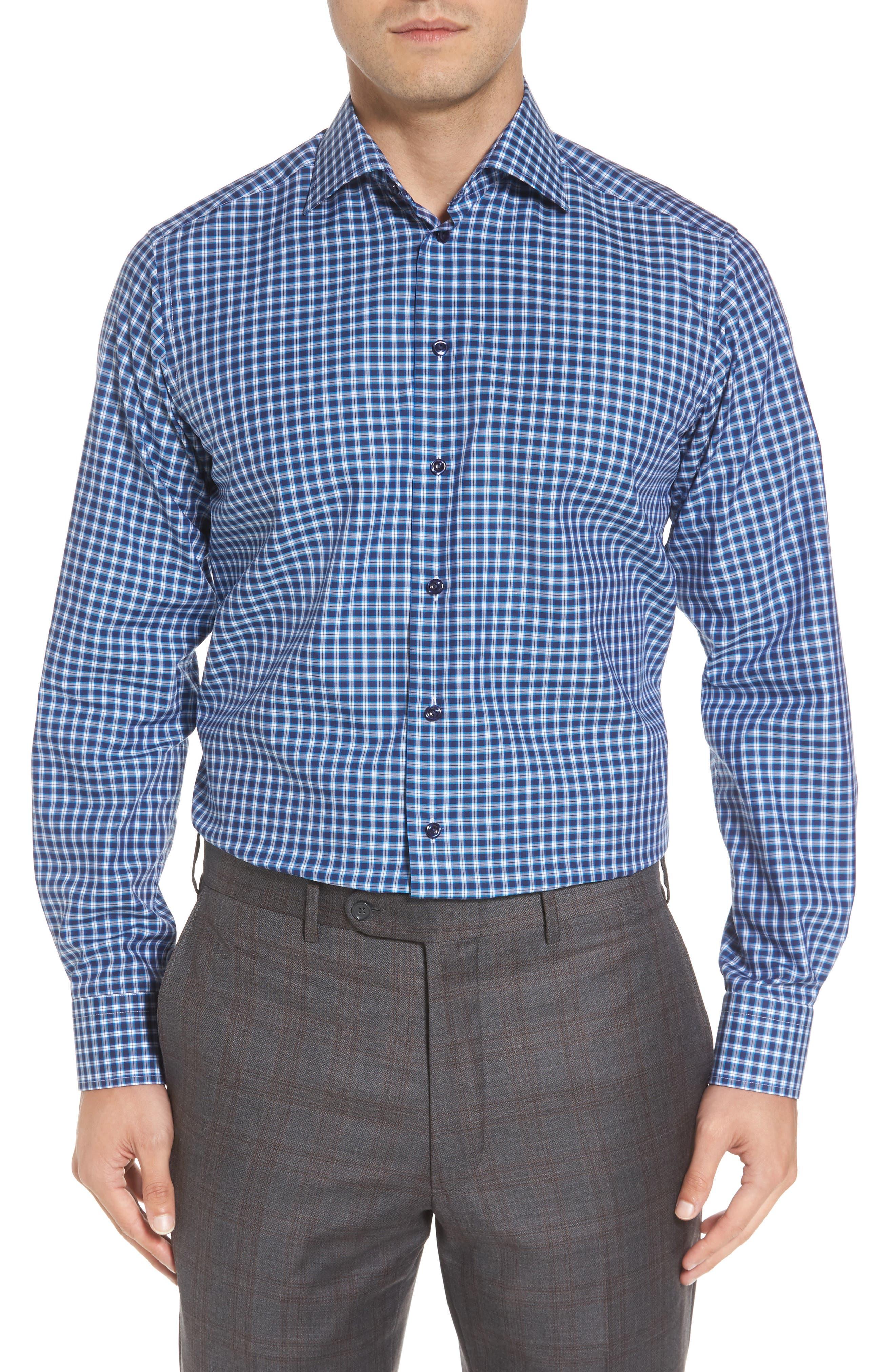 Contemporary Fit Check Dress Shirt,                             Main thumbnail 1, color,