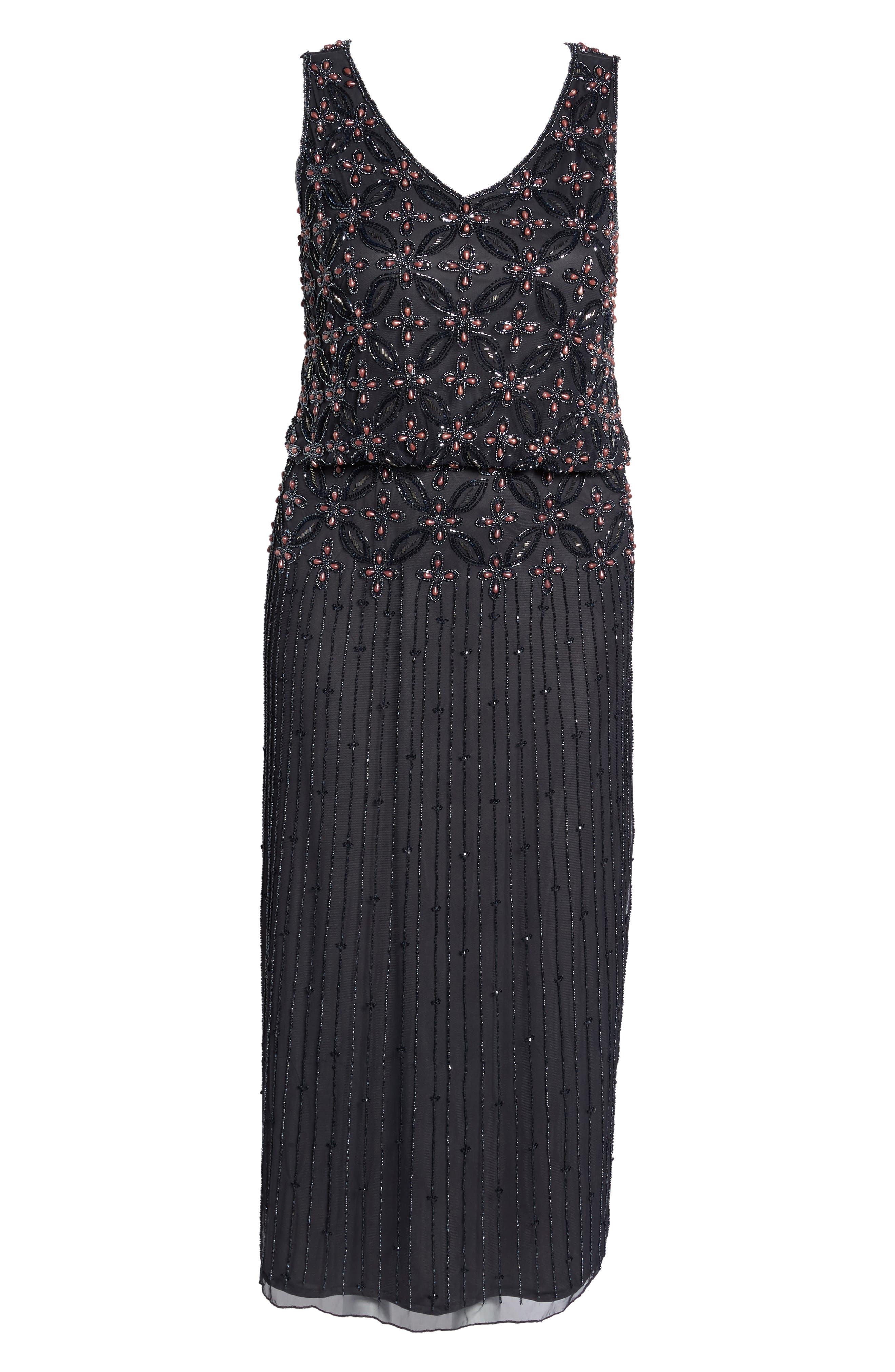 Beaded Blouson Gown,                             Alternate thumbnail 6, color,