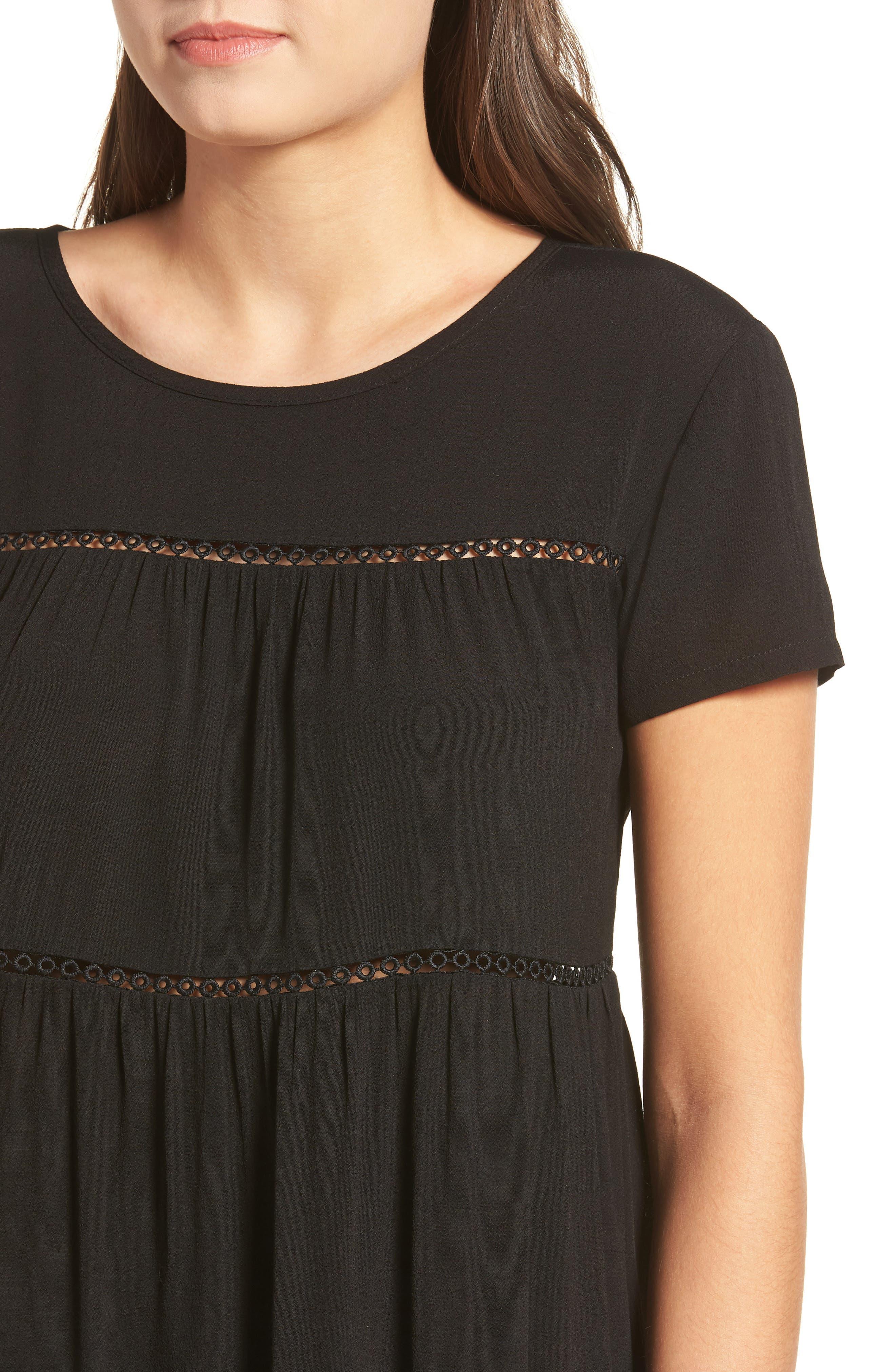 LIRA CLOTHING,                             Amelia Silk Blend Babydoll Dress,                             Alternate thumbnail 5, color,                             BLACK