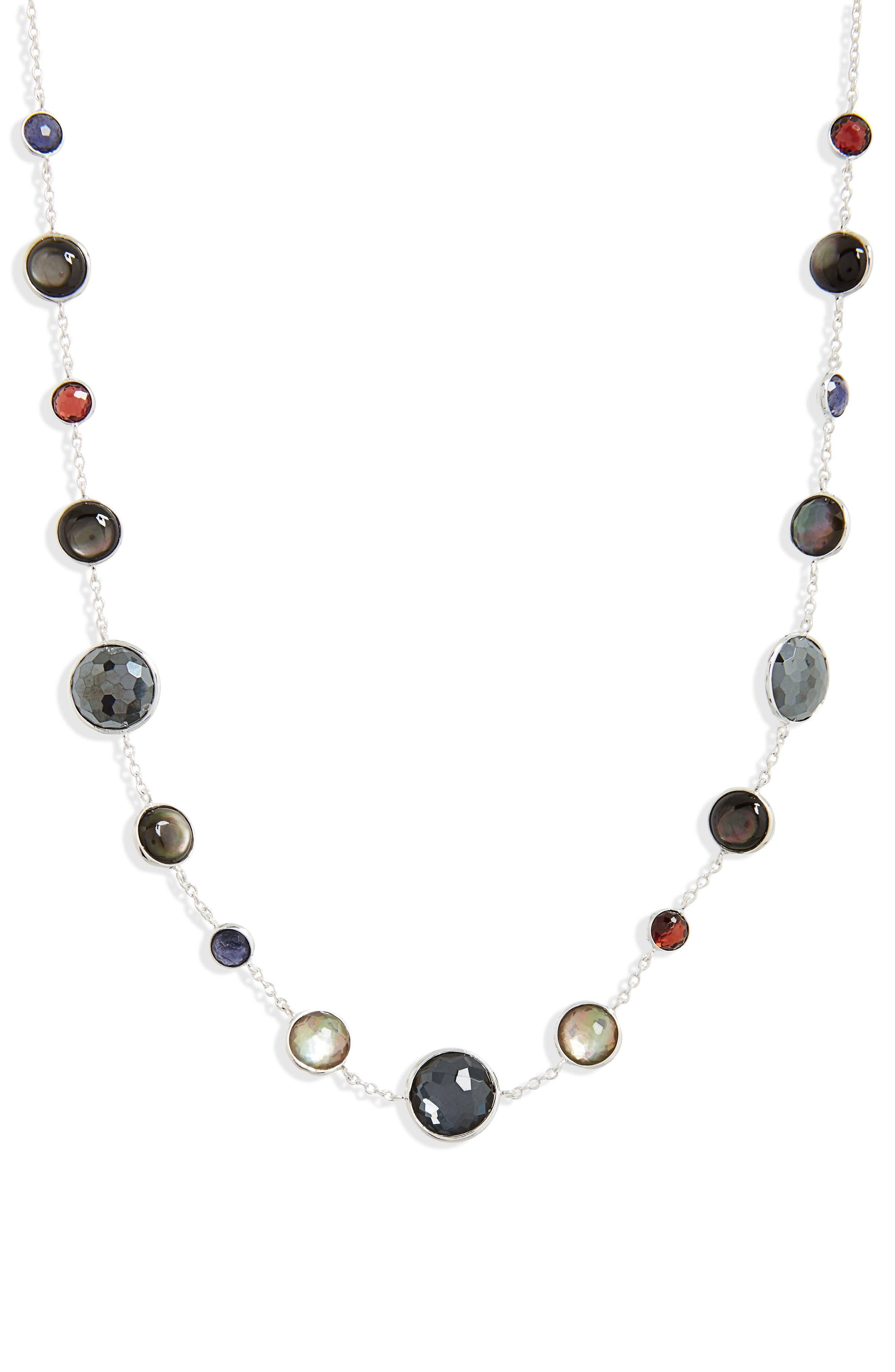 Semiprecious Stone Collar Necklace,                         Main,                         color, RED