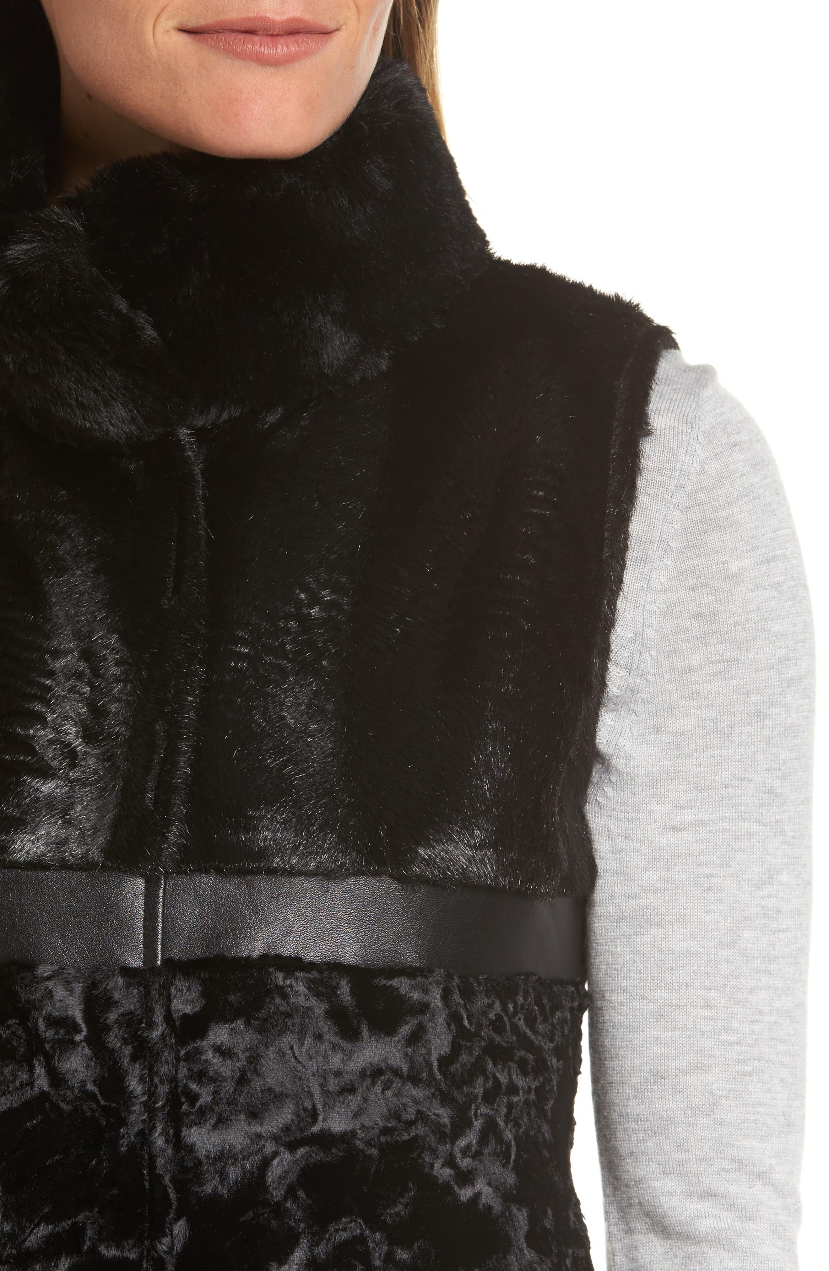 Reversible Faux Fur & Faux Leather Vest,                             Alternate thumbnail 5, color,                             019