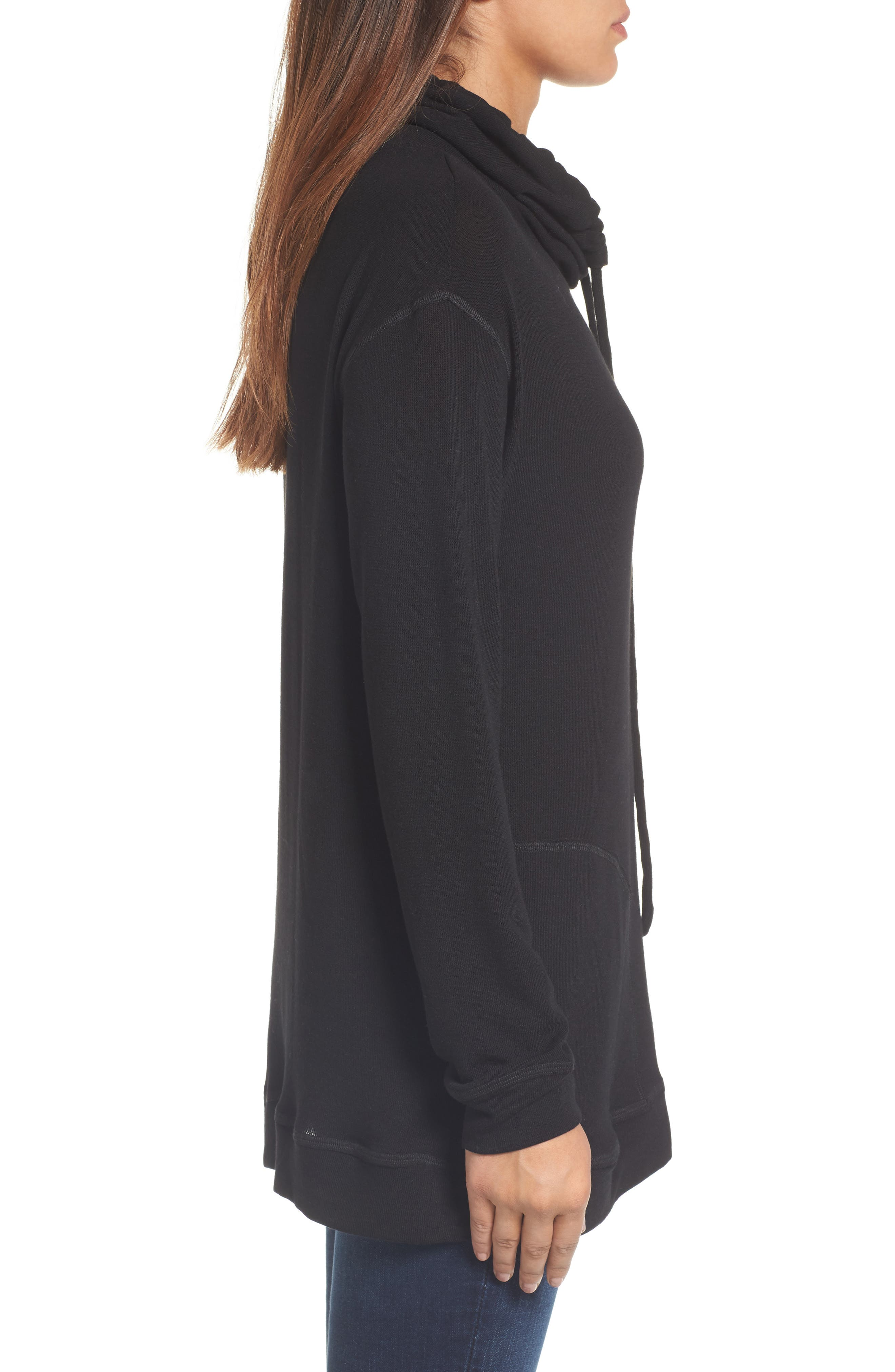 Drawstring Cowl Tunic Top,                             Alternate thumbnail 3, color,                             001