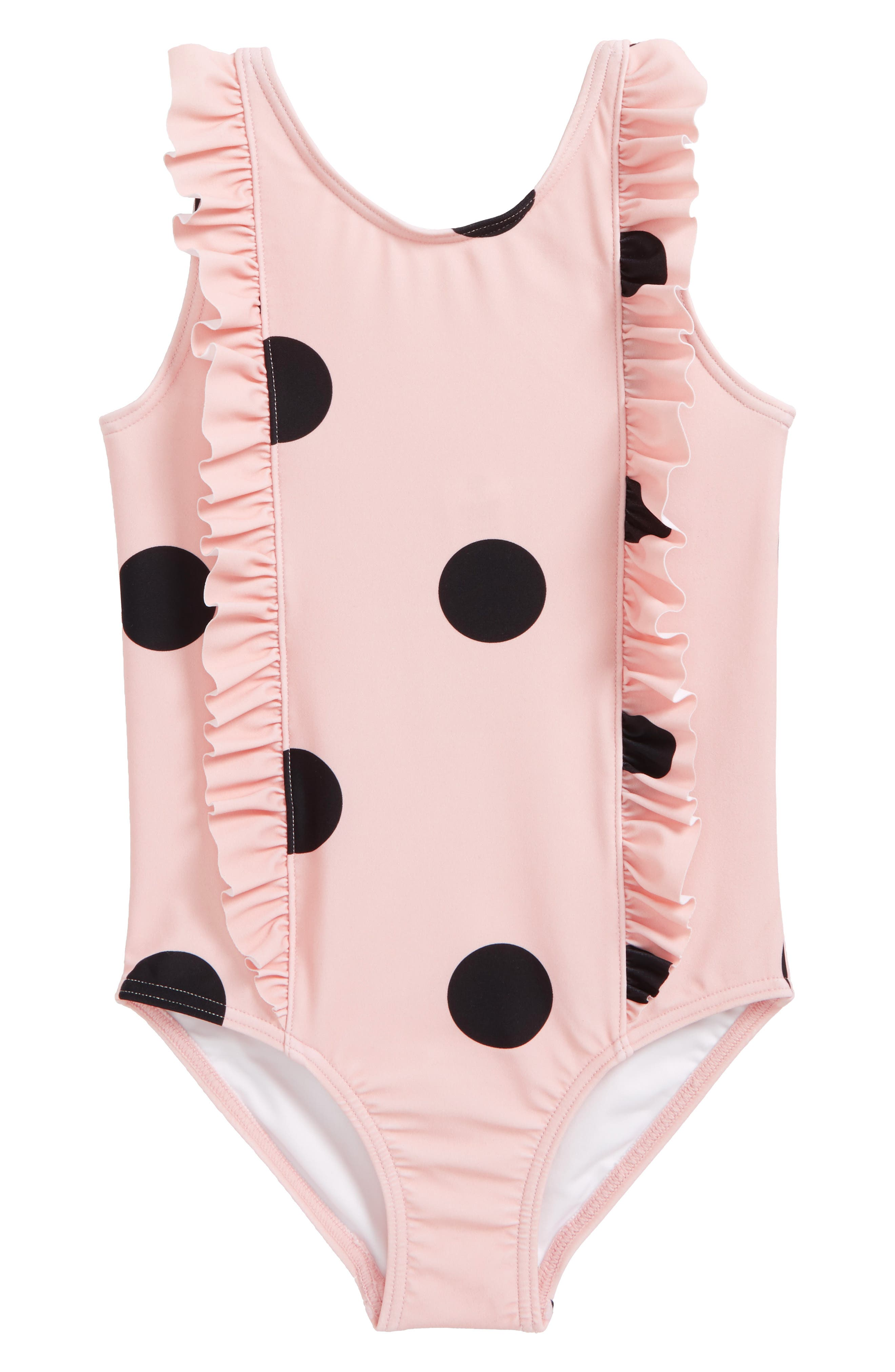 Ruffle One-Piece Swimsuit,                             Main thumbnail 1, color,                             PINK LOTUS BOLD DOT
