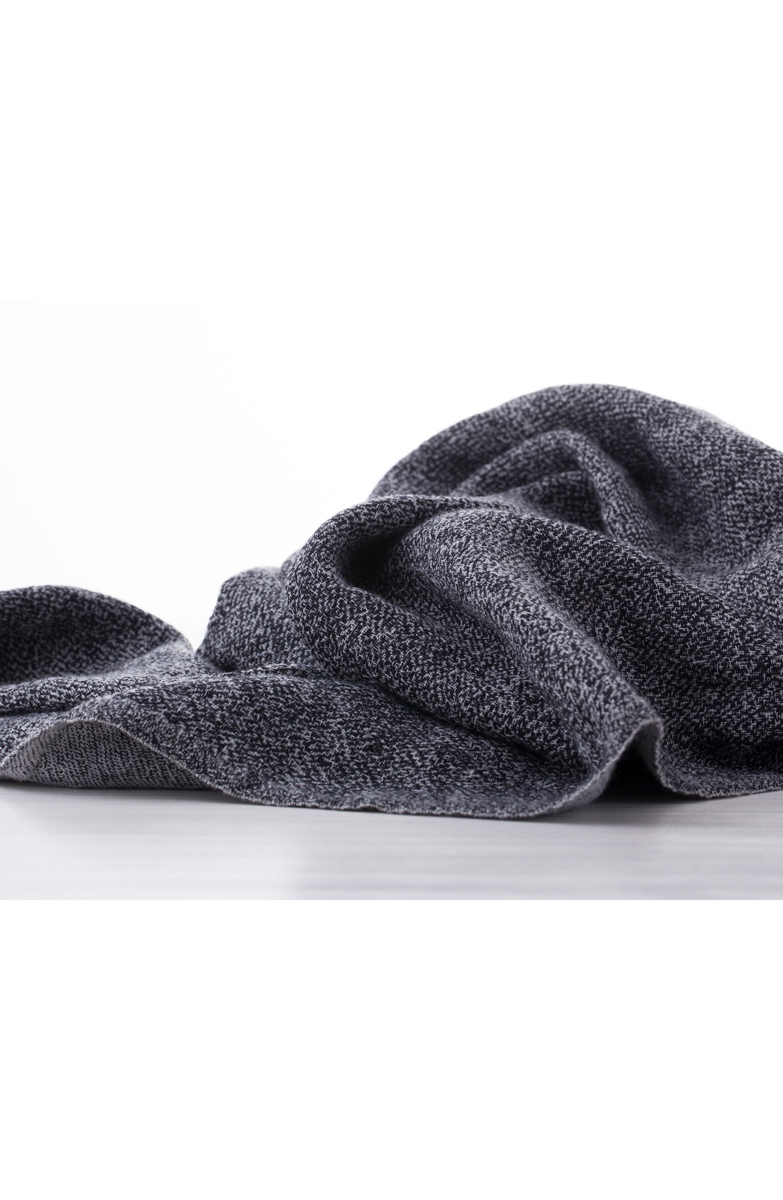 Blurred Herringbone Merino Wool Throw,                             Alternate thumbnail 4, color,                             BLURRED HERRINGBONE GREY