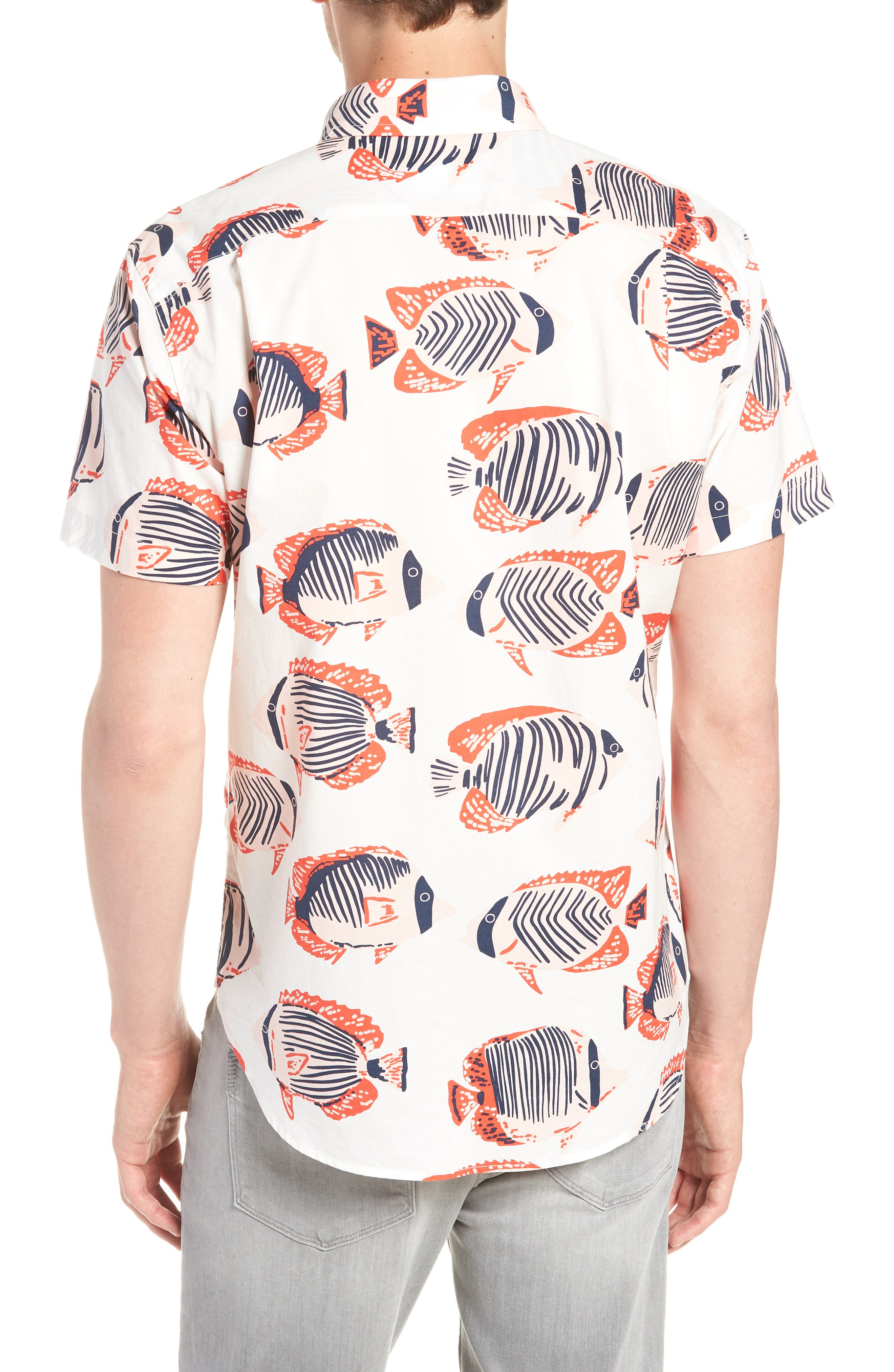 Riviera Slim Fit Fish Print Sport Shirt,                             Alternate thumbnail 3, color,                             100