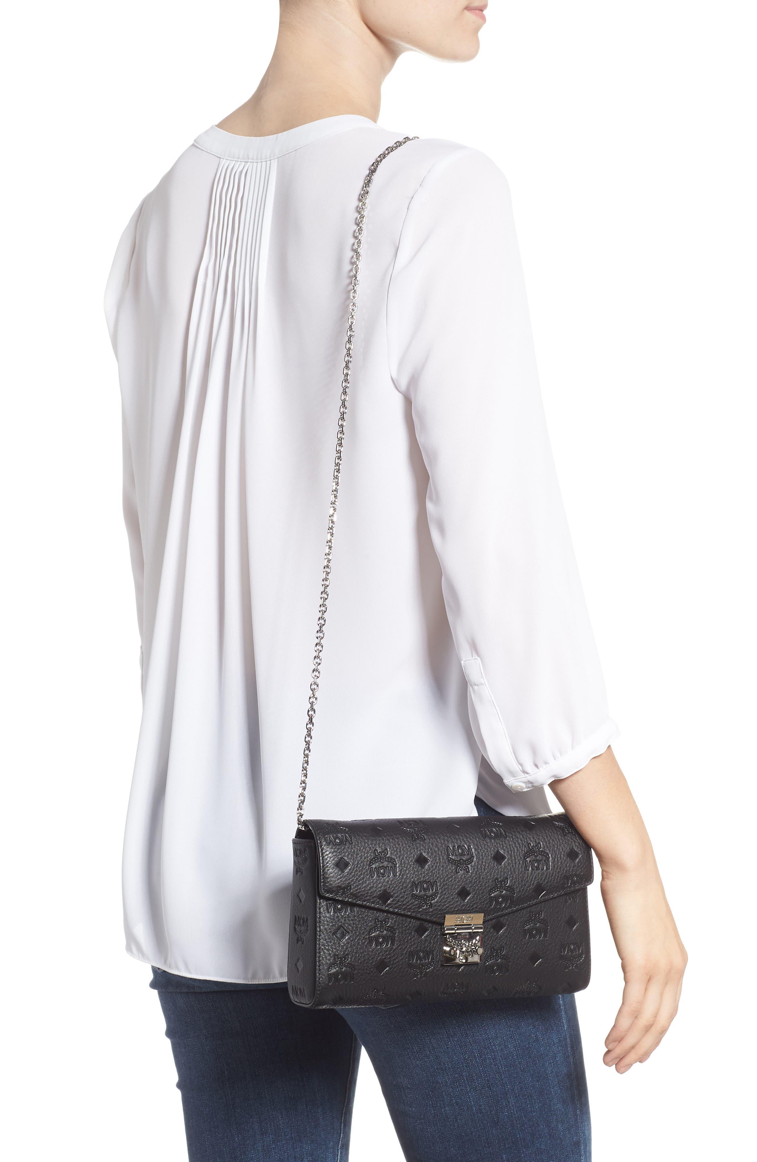 Millie Medium Calfskin Leather Wallet on a Chain,                             Alternate thumbnail 2, color,                             BLACK