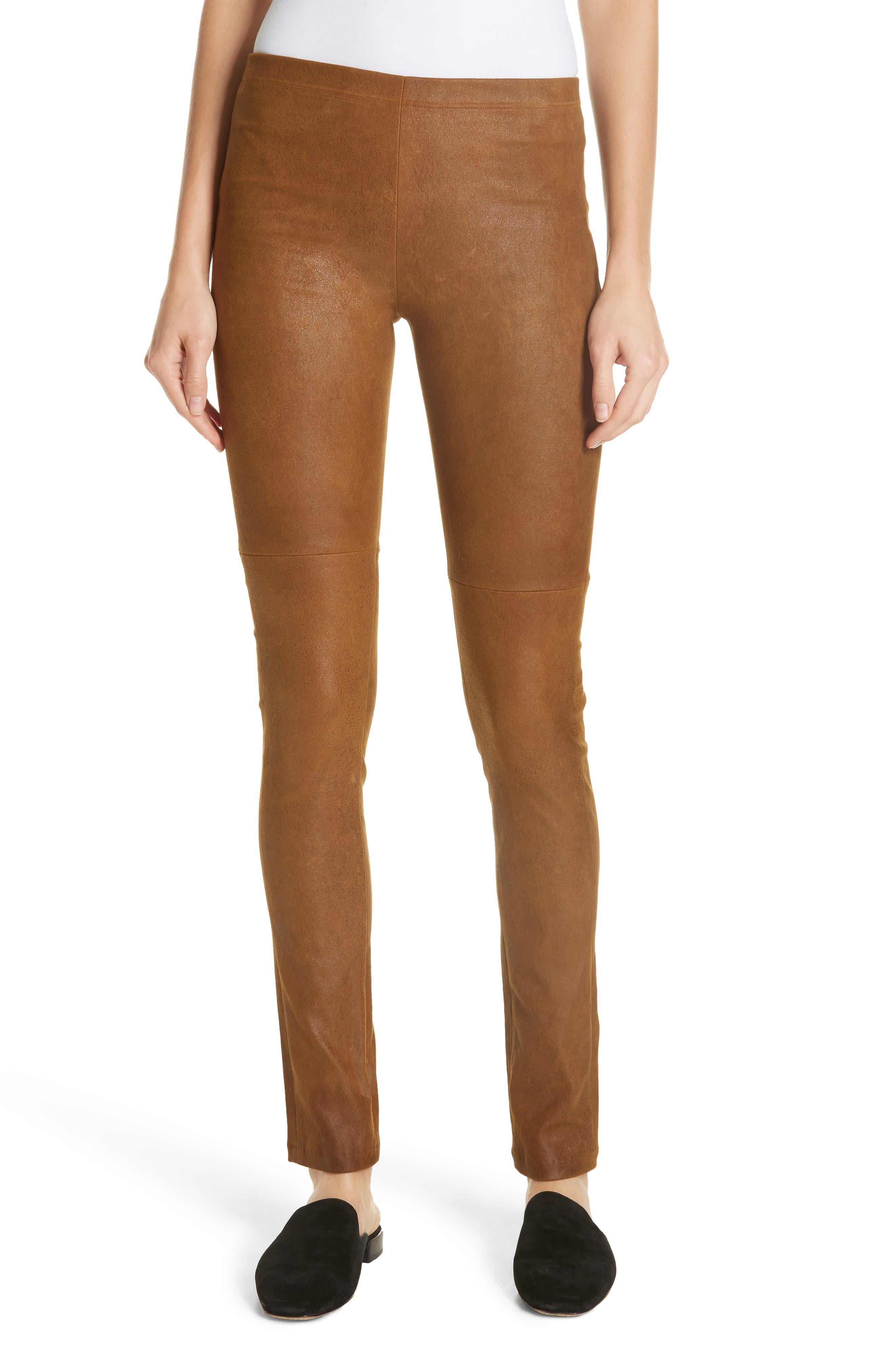 Esther Leather Leggings,                         Main,                         color, CUMIN