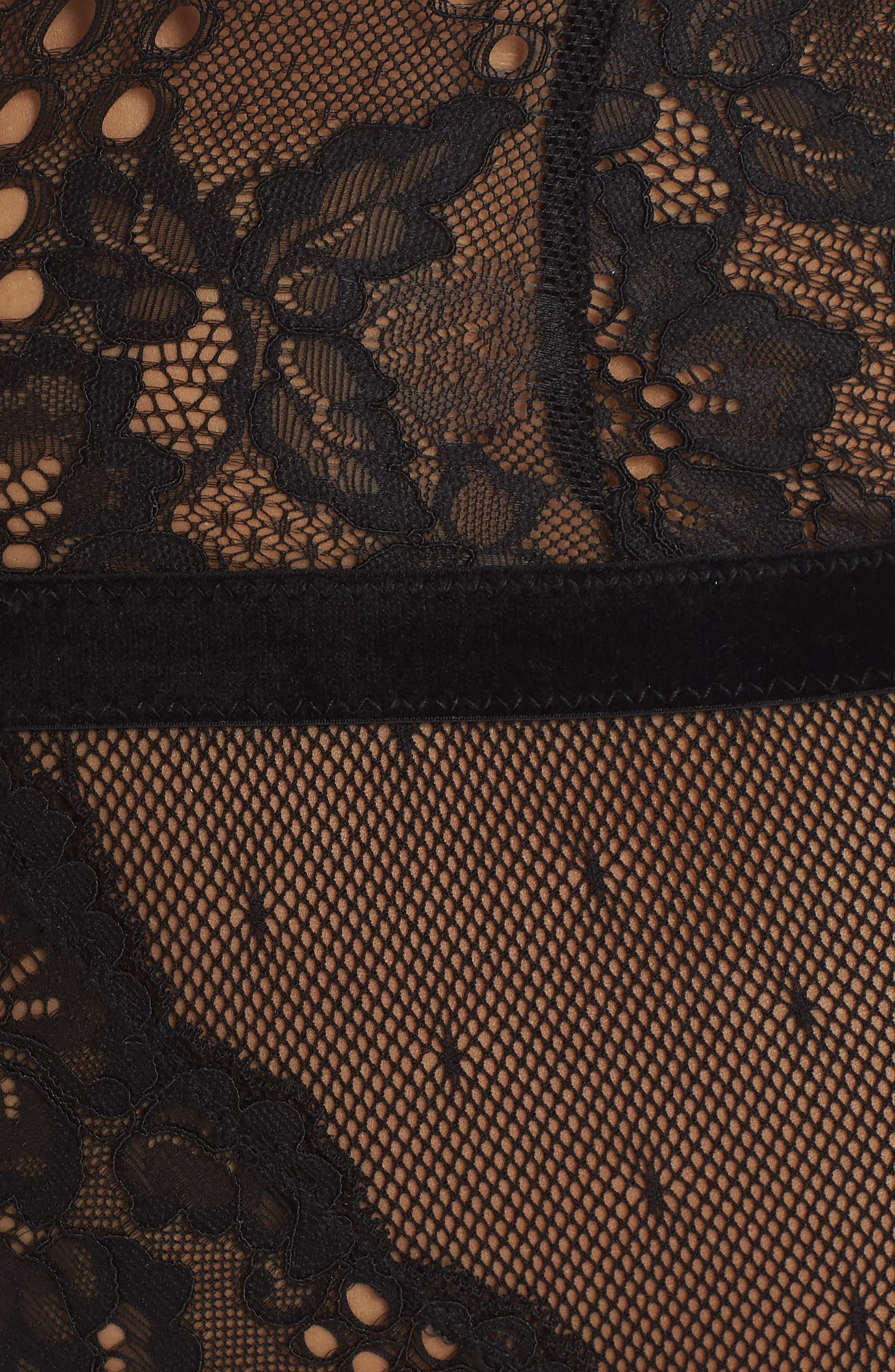 Balance Lace Thong Teddy,                             Alternate thumbnail 8, color,                             BLACK