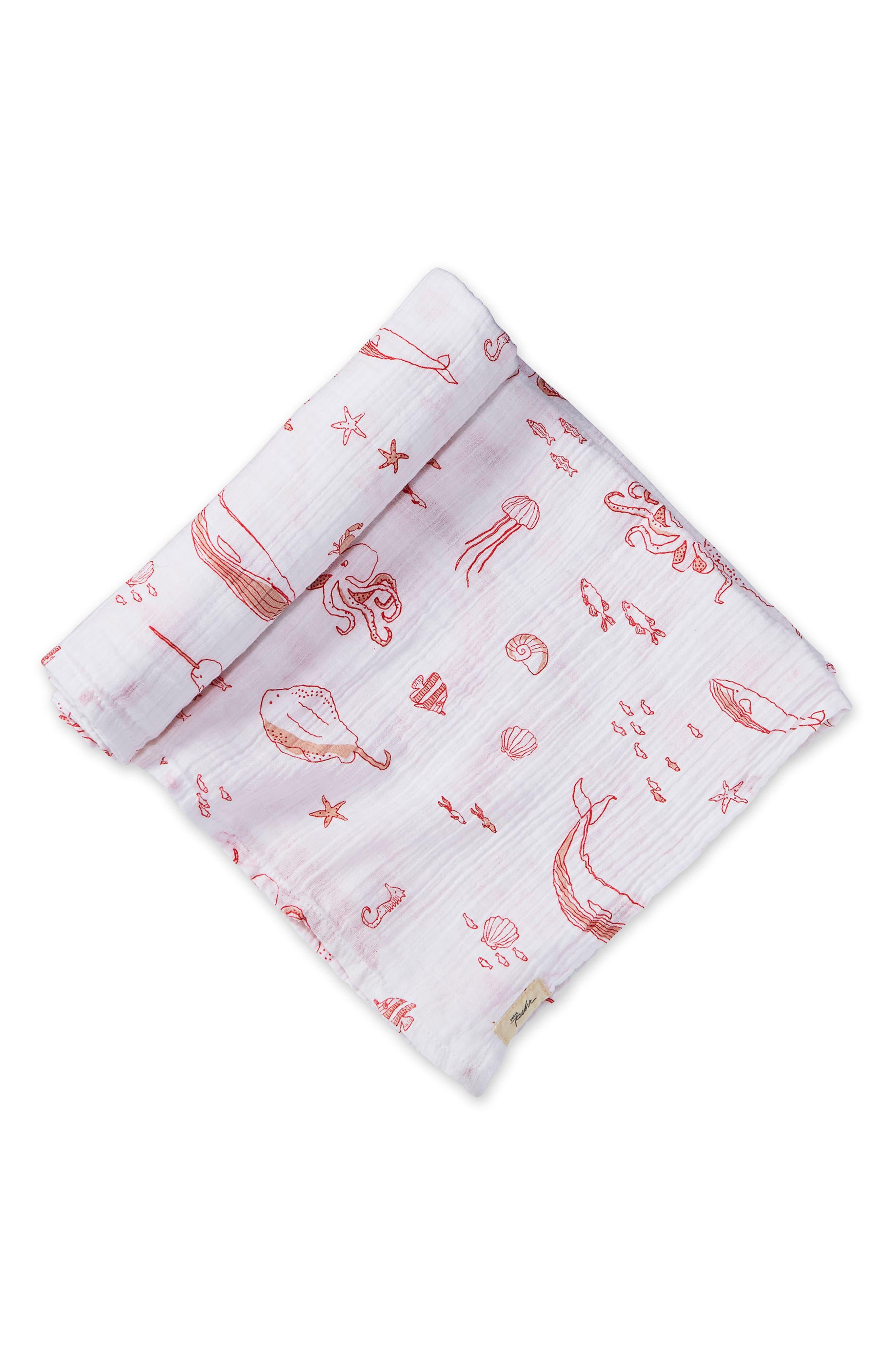 Life Aquatic Swaddle Blanket,                         Main,                         color, GRAPEFRUIT PINK