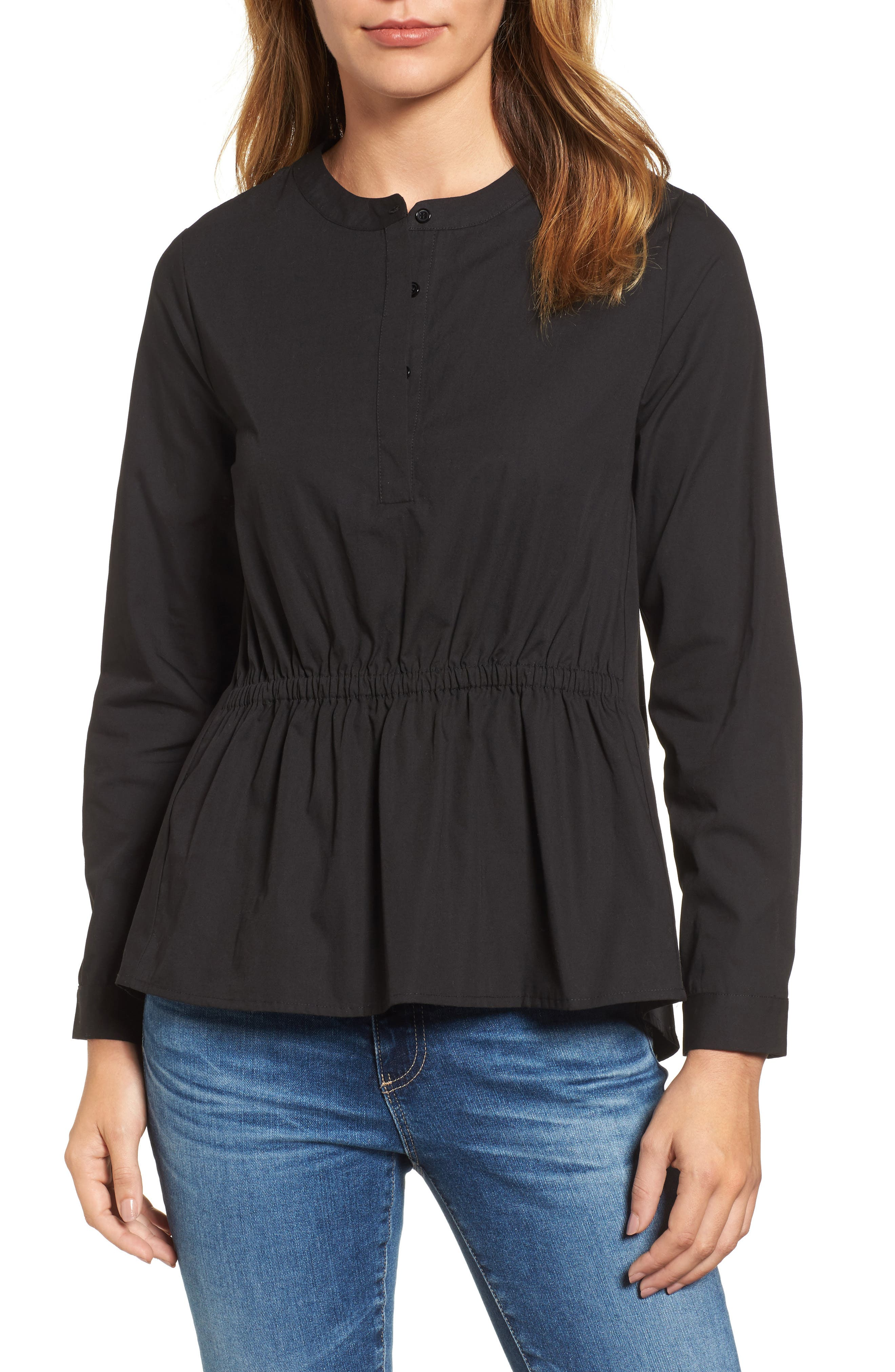 Cinched Front Peplum Top,                         Main,                         color, 001
