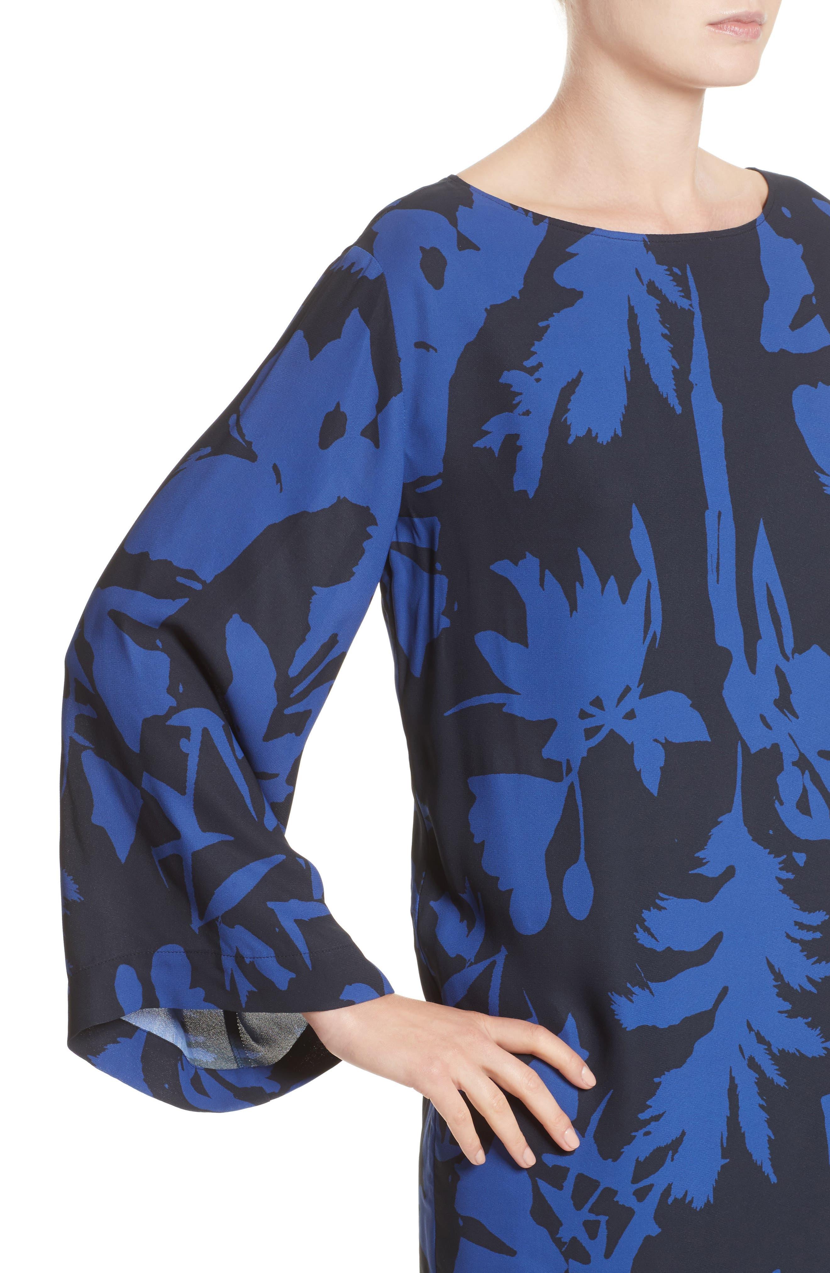 Floral Crepe Bell Sleeve Dress,                             Alternate thumbnail 4, color,                             410