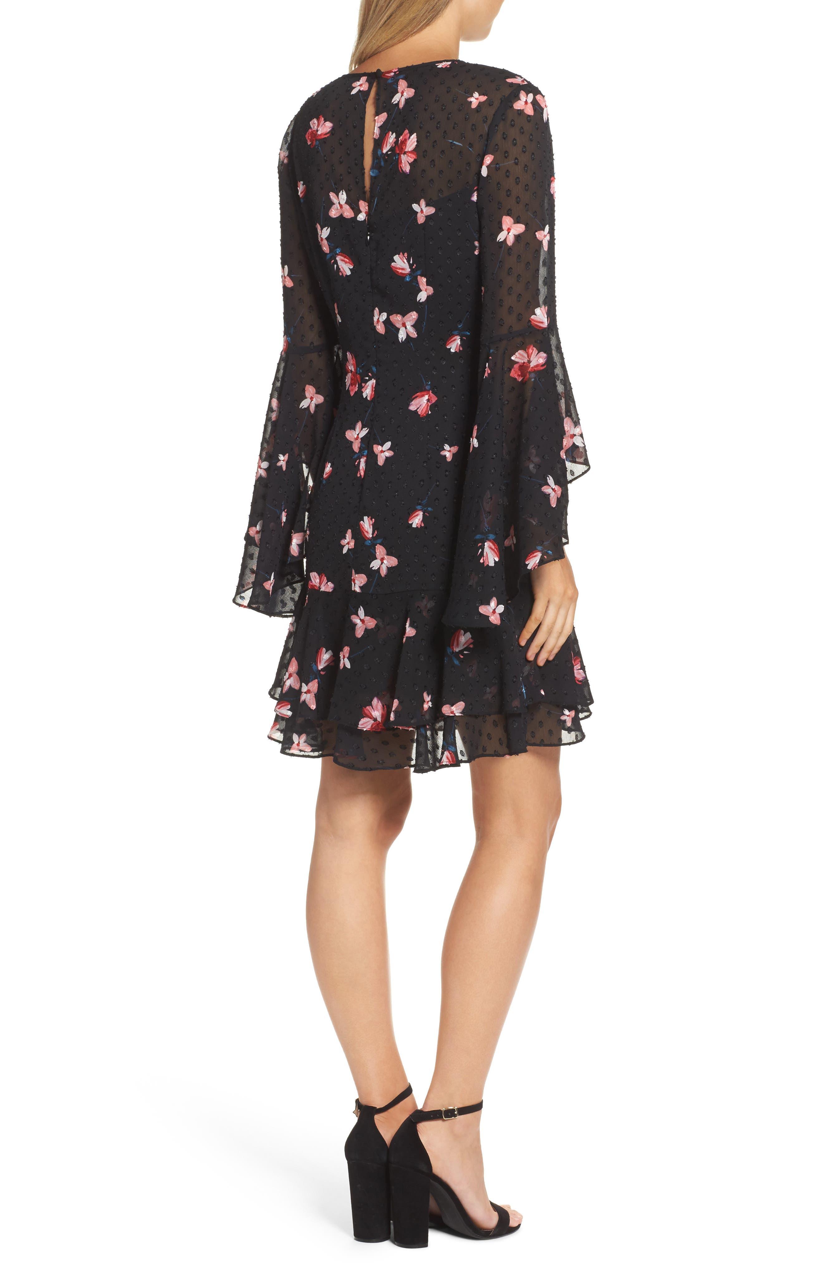 Ruffled Fit & Flare Dress,                             Alternate thumbnail 2, color,