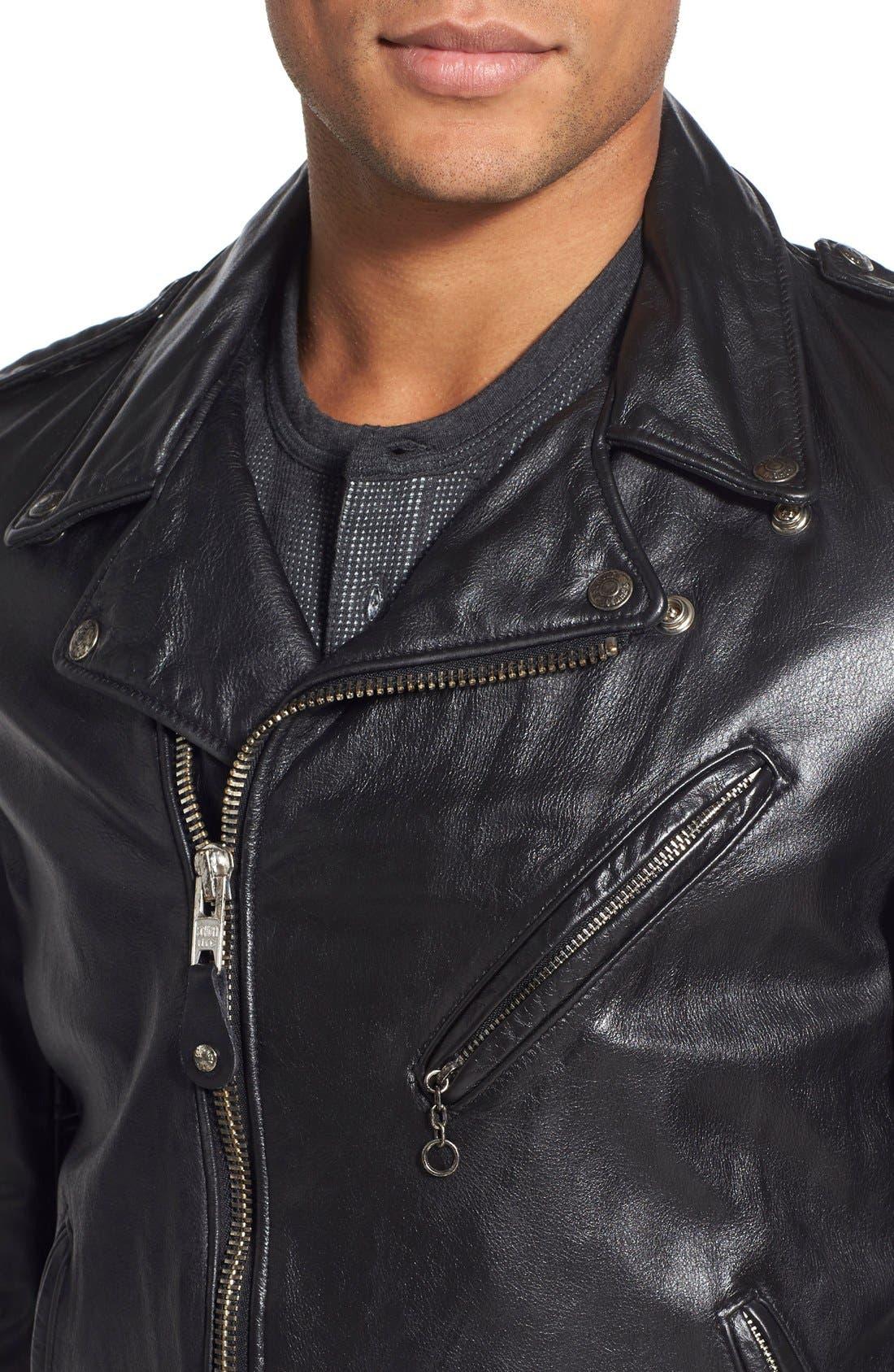 Hand Vintaged Cowhide Leather Motocycle Jacket,                             Alternate thumbnail 7, color,                             BLACK