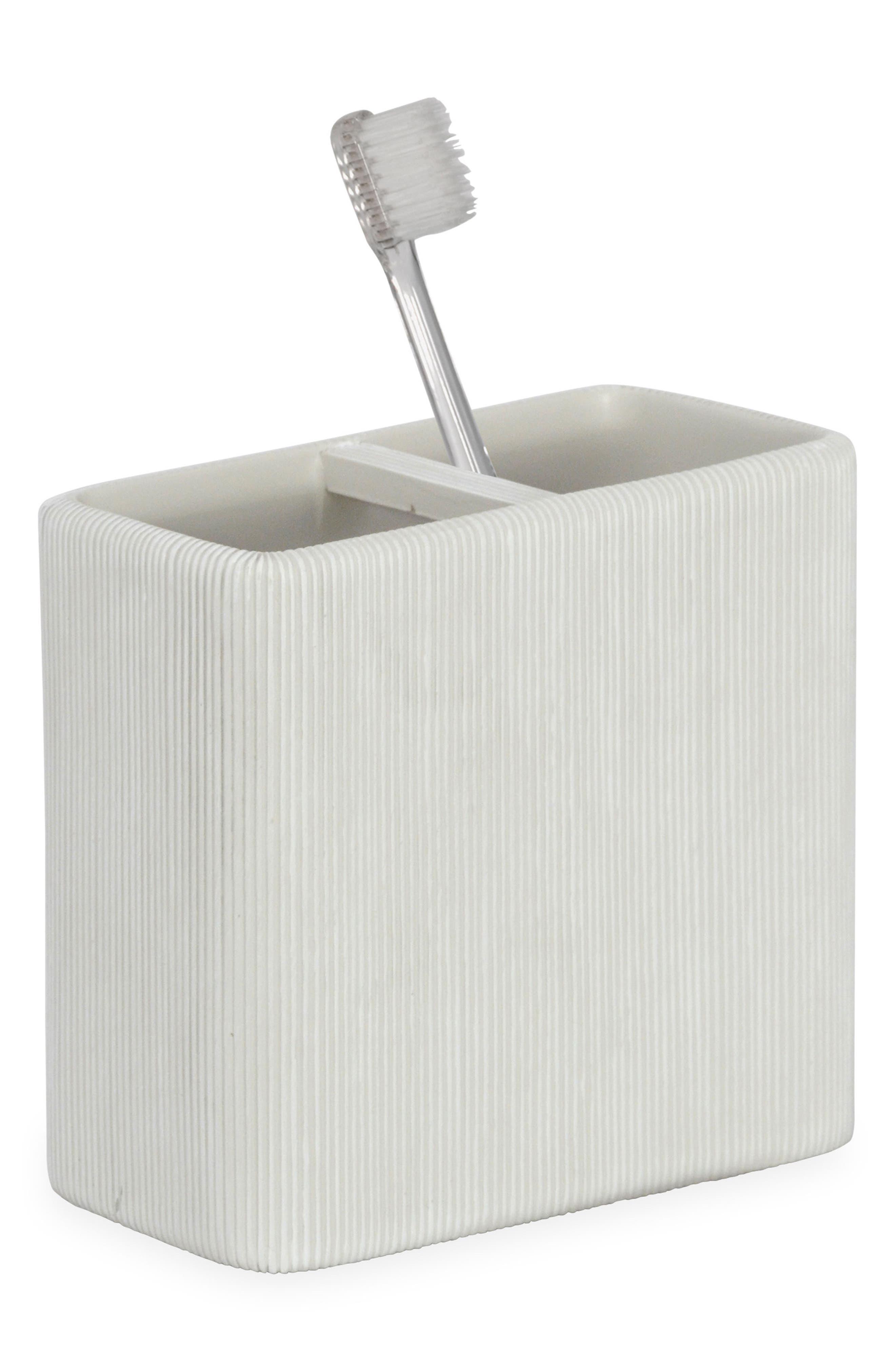 Fine Lines Ceramic Toothbrush Holder,                         Main,                         color, WHITE