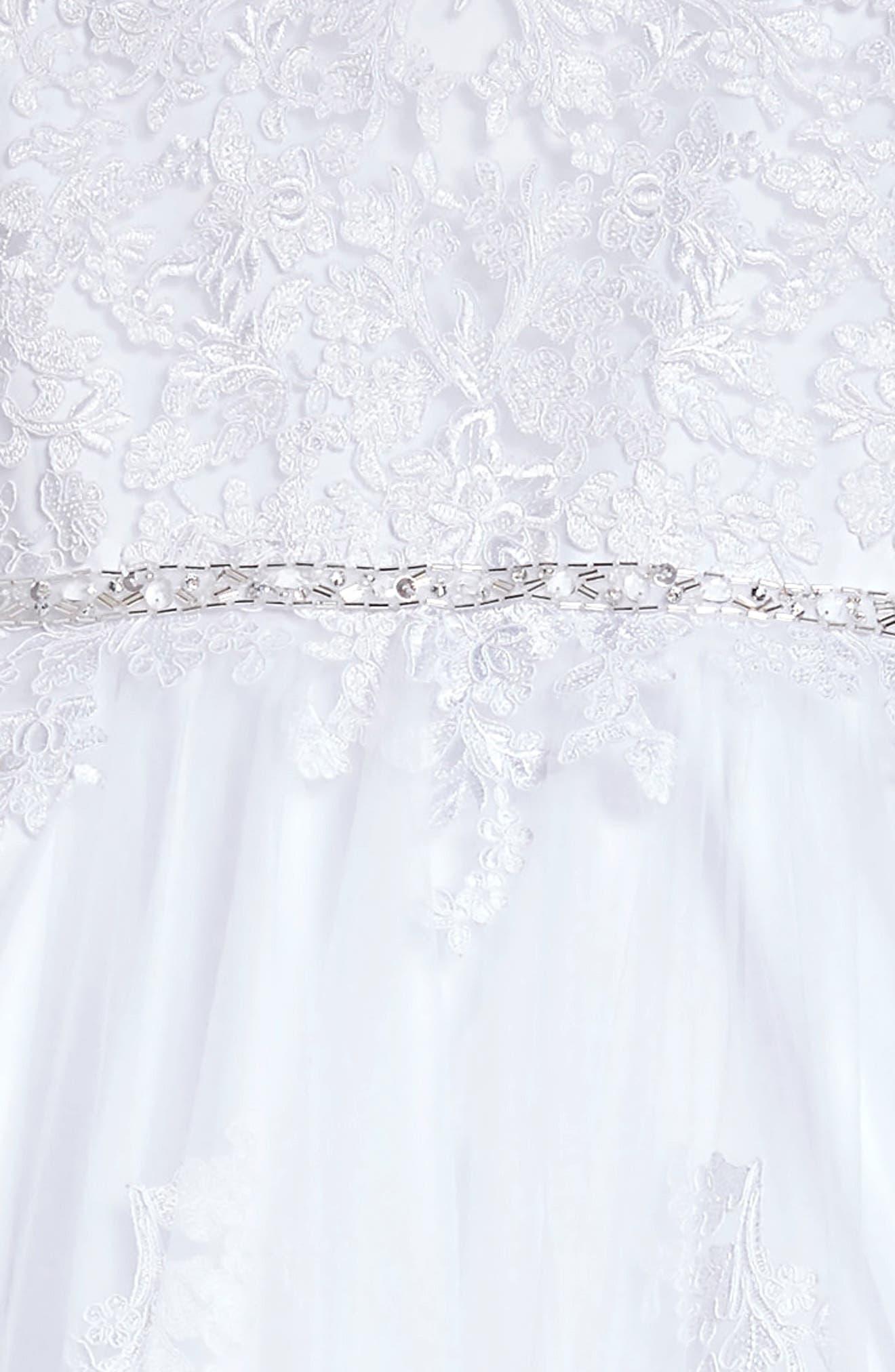 Lace Appliqué Tulle First Communion Dress,                             Alternate thumbnail 3, color,