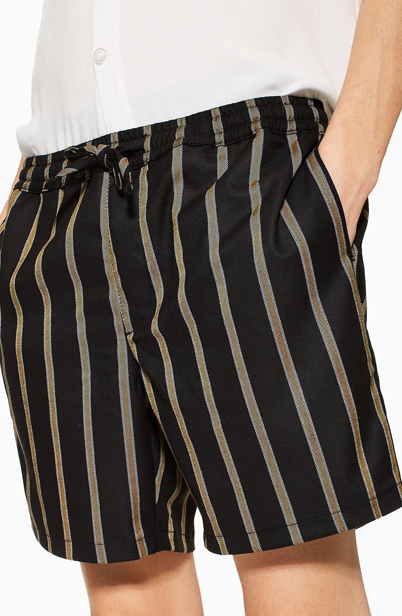 Striped Swim Shorts,                             Alternate thumbnail 3, color,                             BLACK MULTI