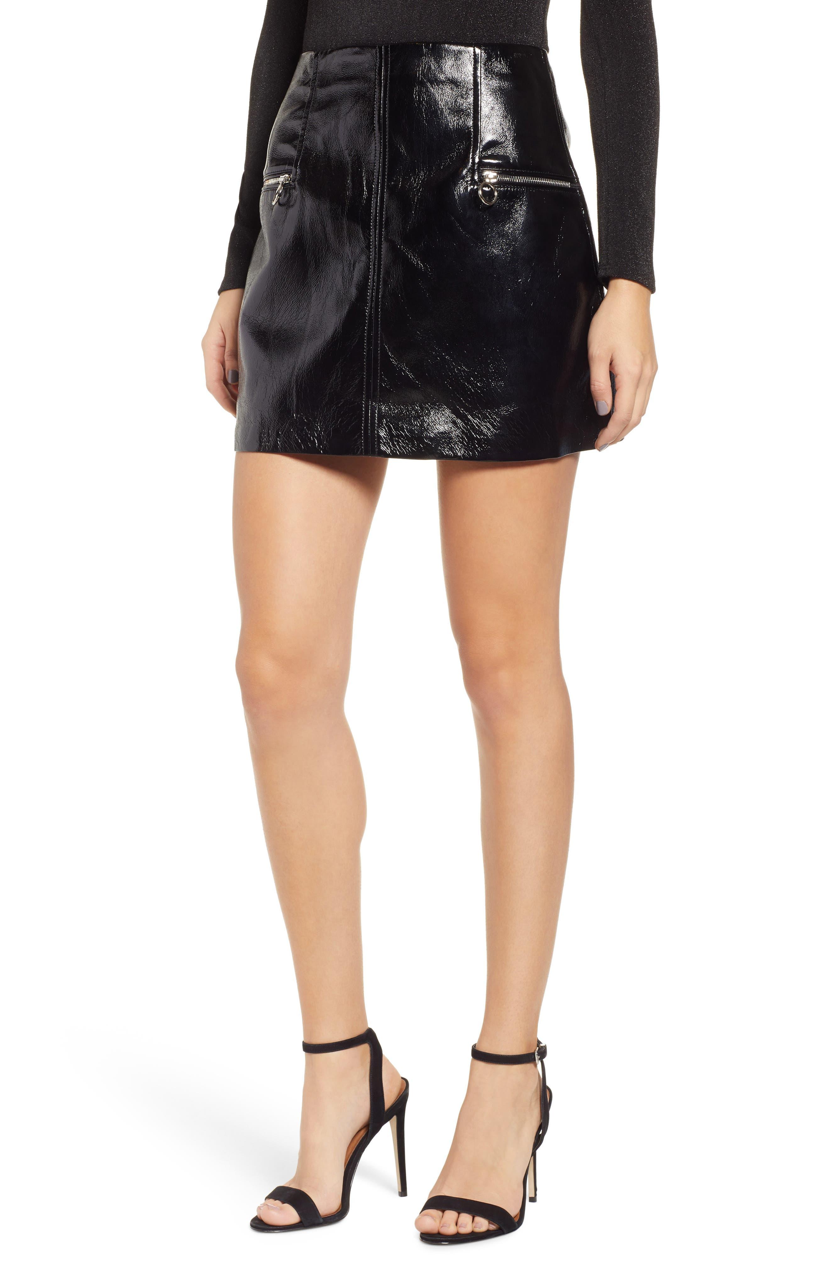 Blanknyc Faux Patent Leather Miniskirt, Black