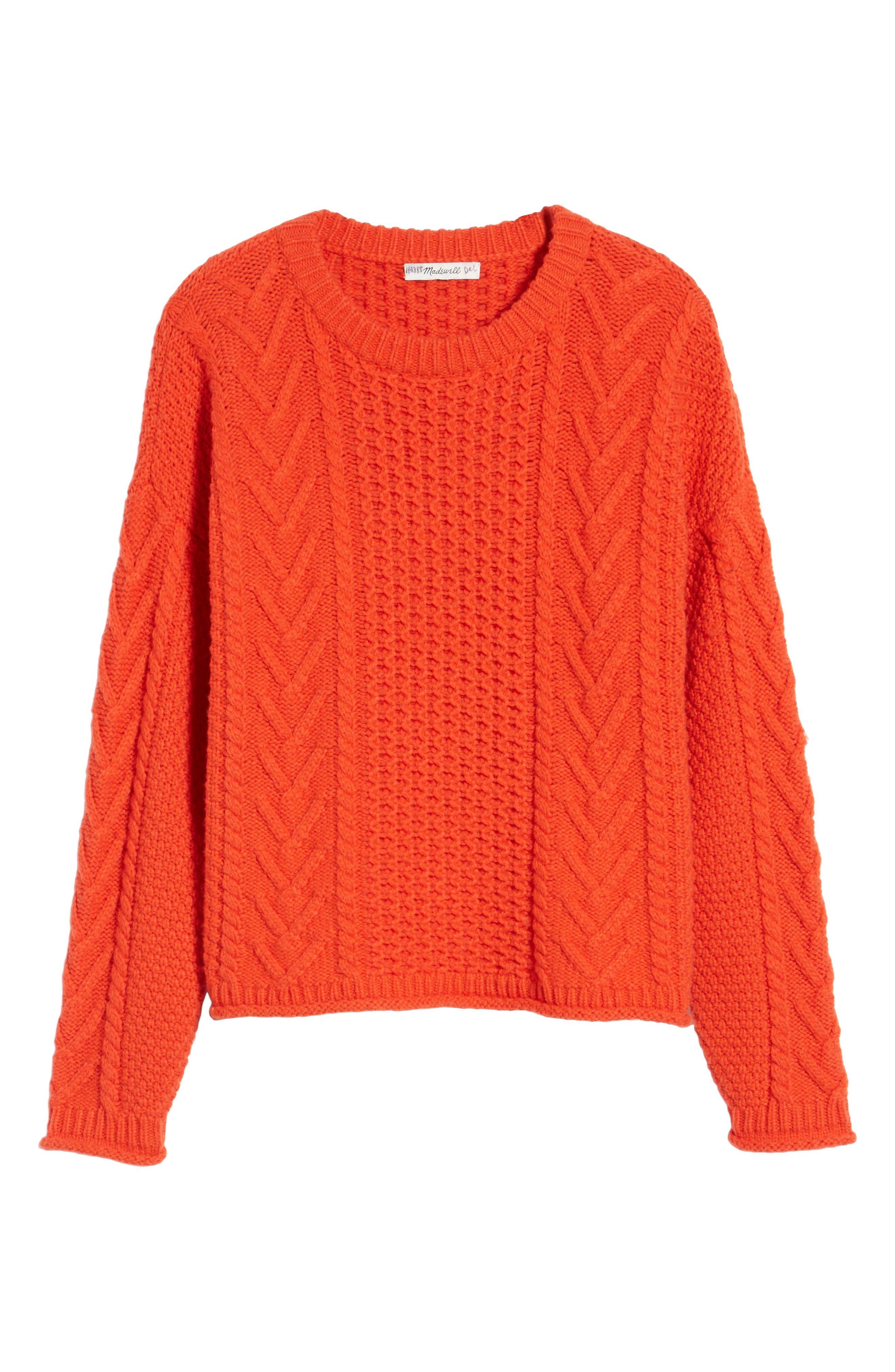 Cable Knit Pullover Sweater,                             Alternate thumbnail 9, color,