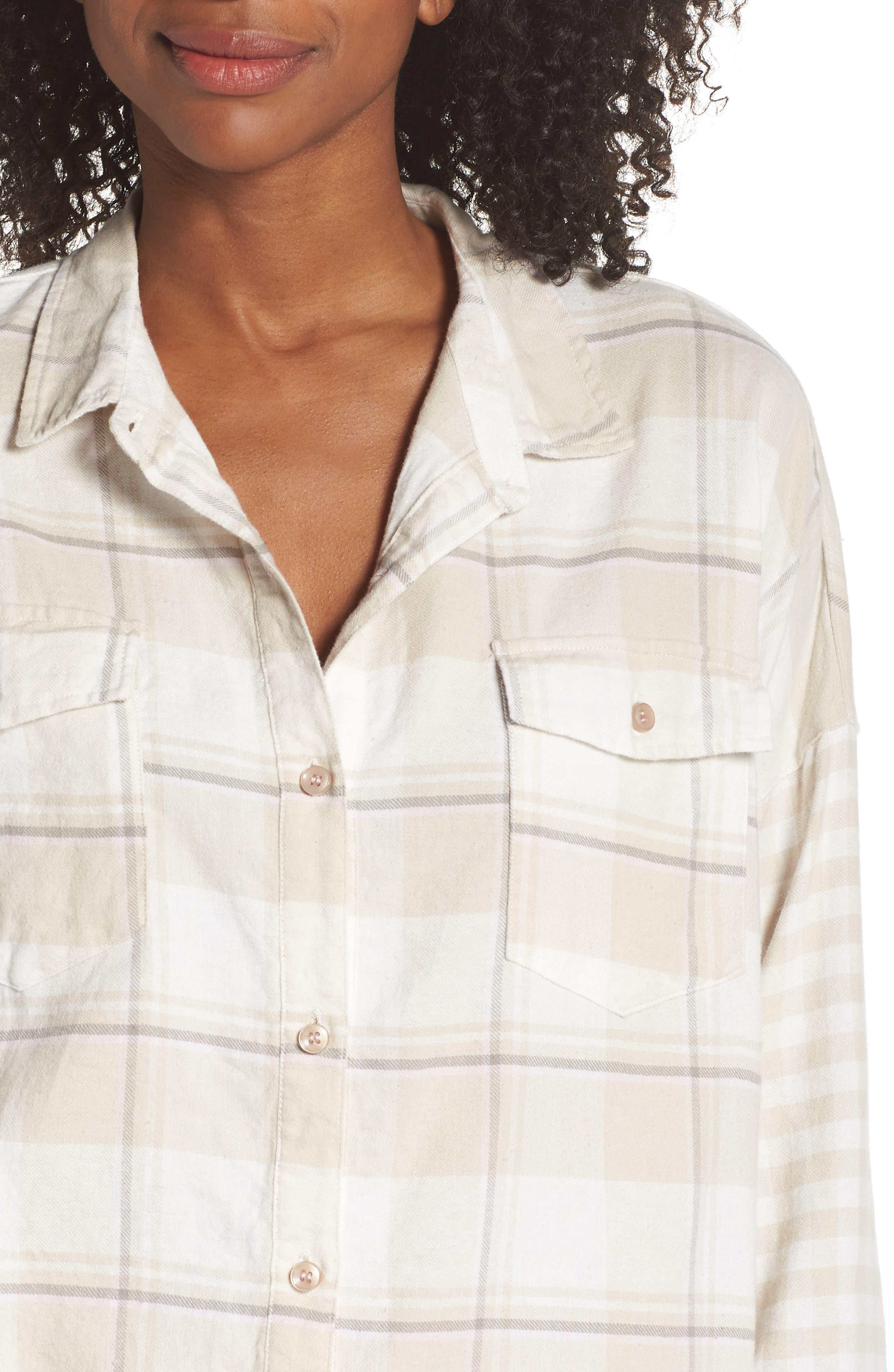 Plaid Shirt,                             Alternate thumbnail 4, color,                             CHAMPAGNE