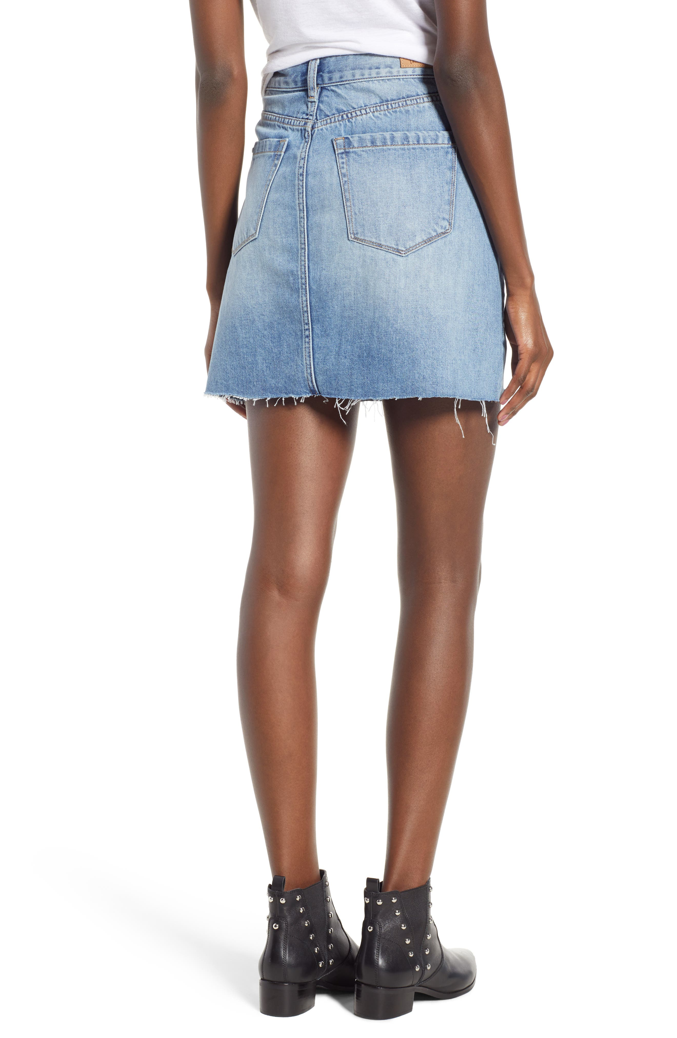 Raw Hem Denim Skirt,                             Alternate thumbnail 2, color,                             420