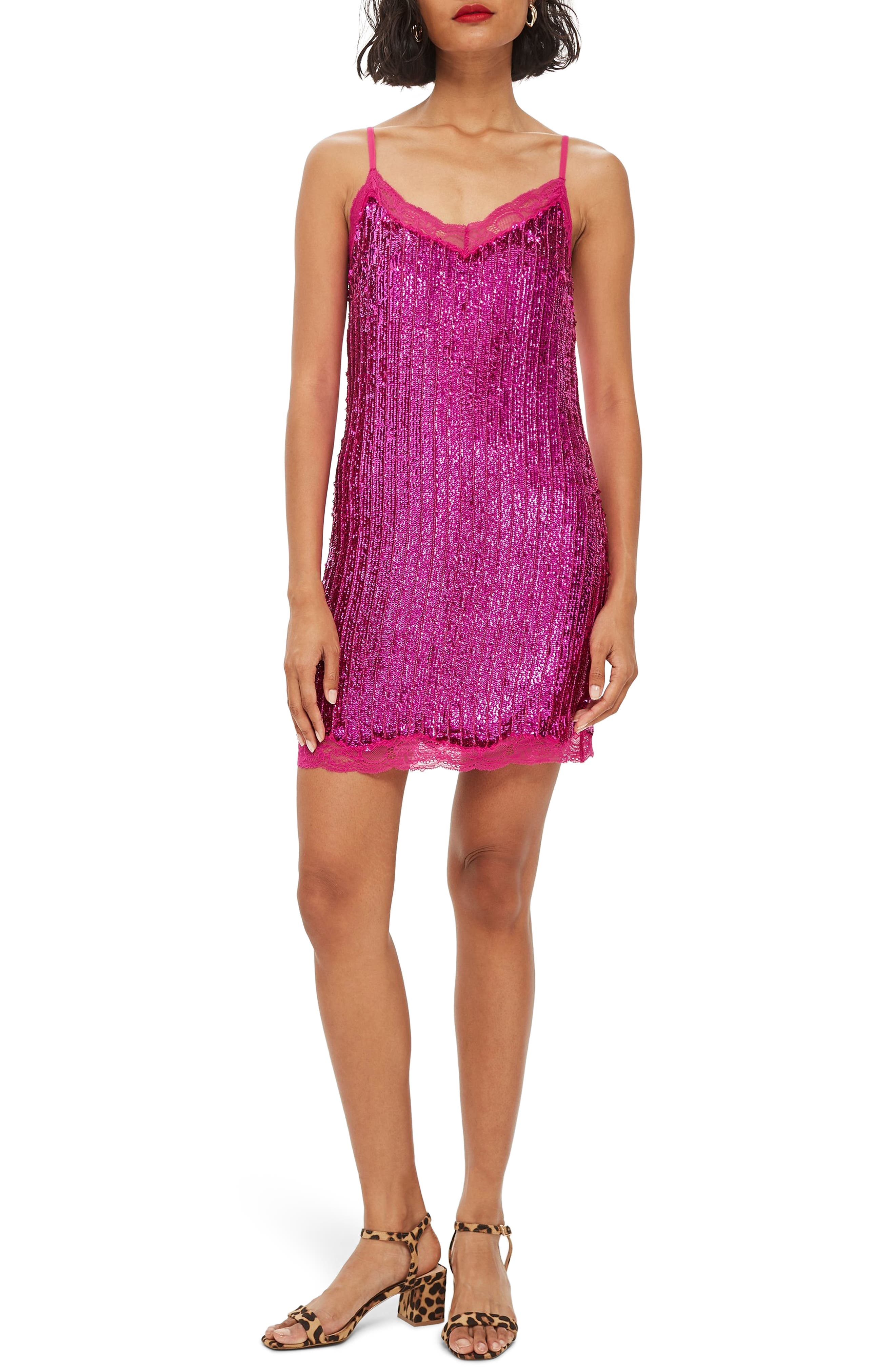 Sequin Slipdress,                         Main,                         color, PINK