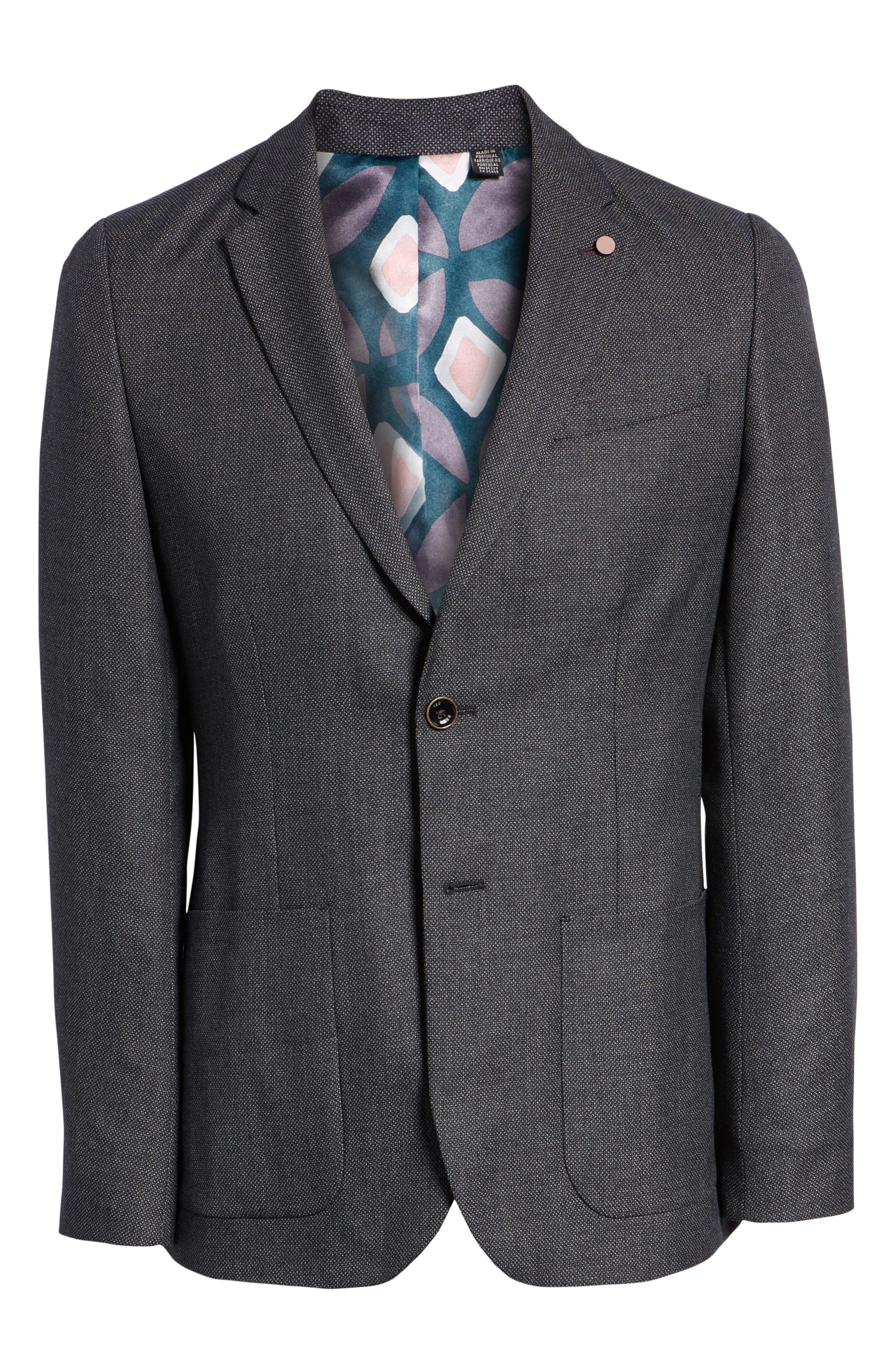 Pebble Slim Fit Bird's Eye Blazer,                             Alternate thumbnail 5, color,                             NAVY