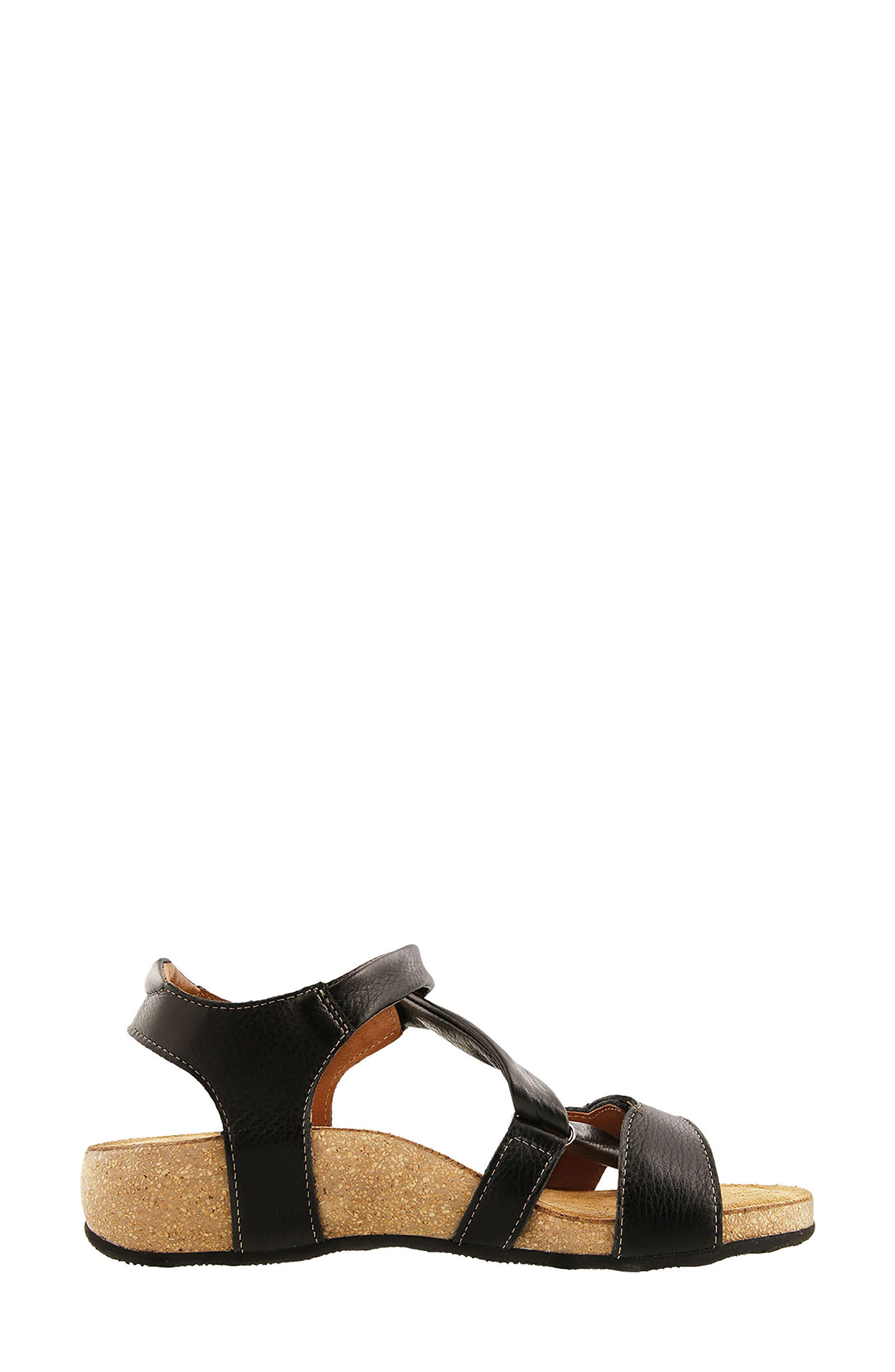 Universe Sandal,                             Alternate thumbnail 3, color,                             BLACK LEATHER