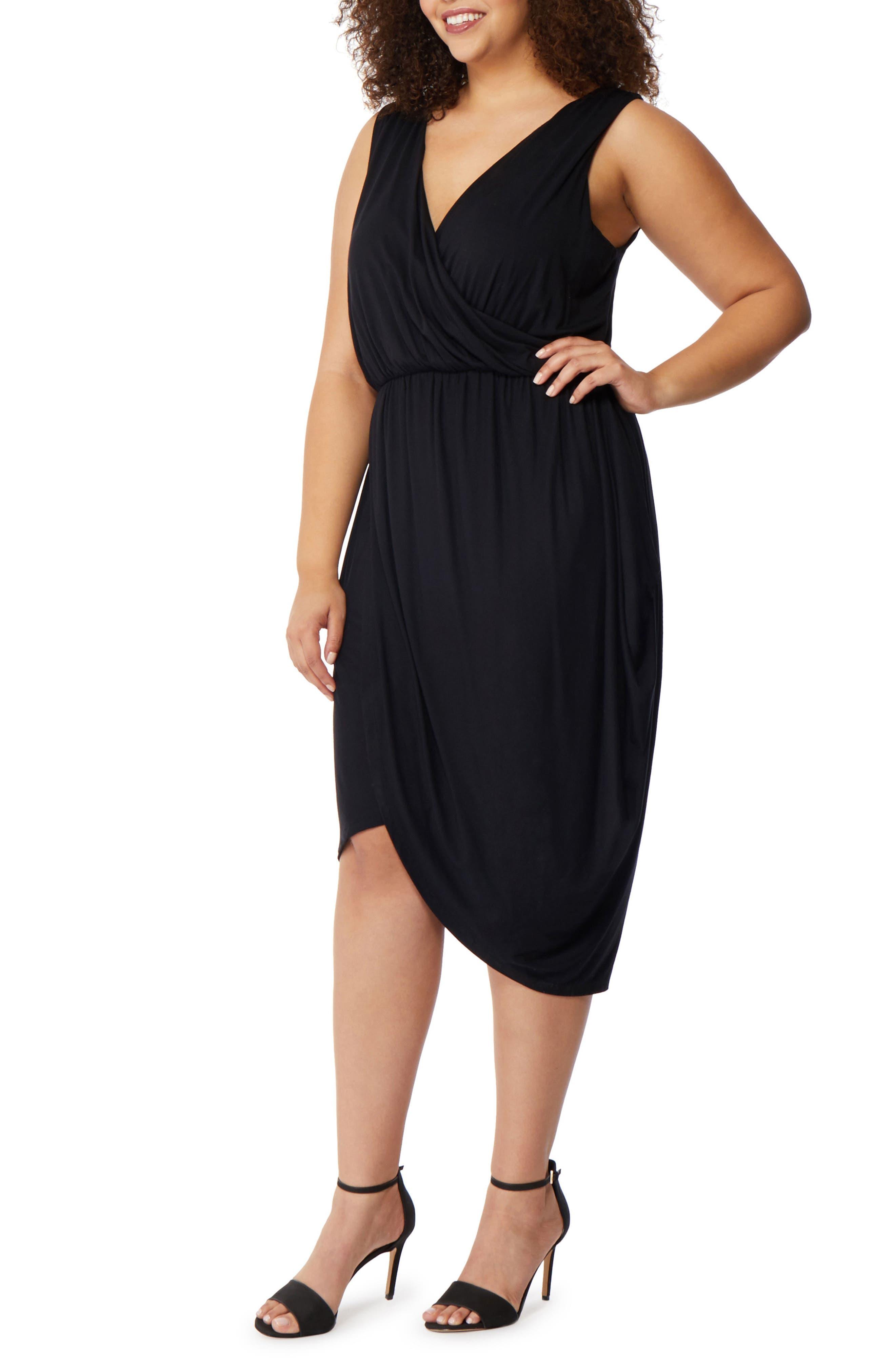Drape Surplice Jersey Midi Dress,                             Alternate thumbnail 5, color,                             001