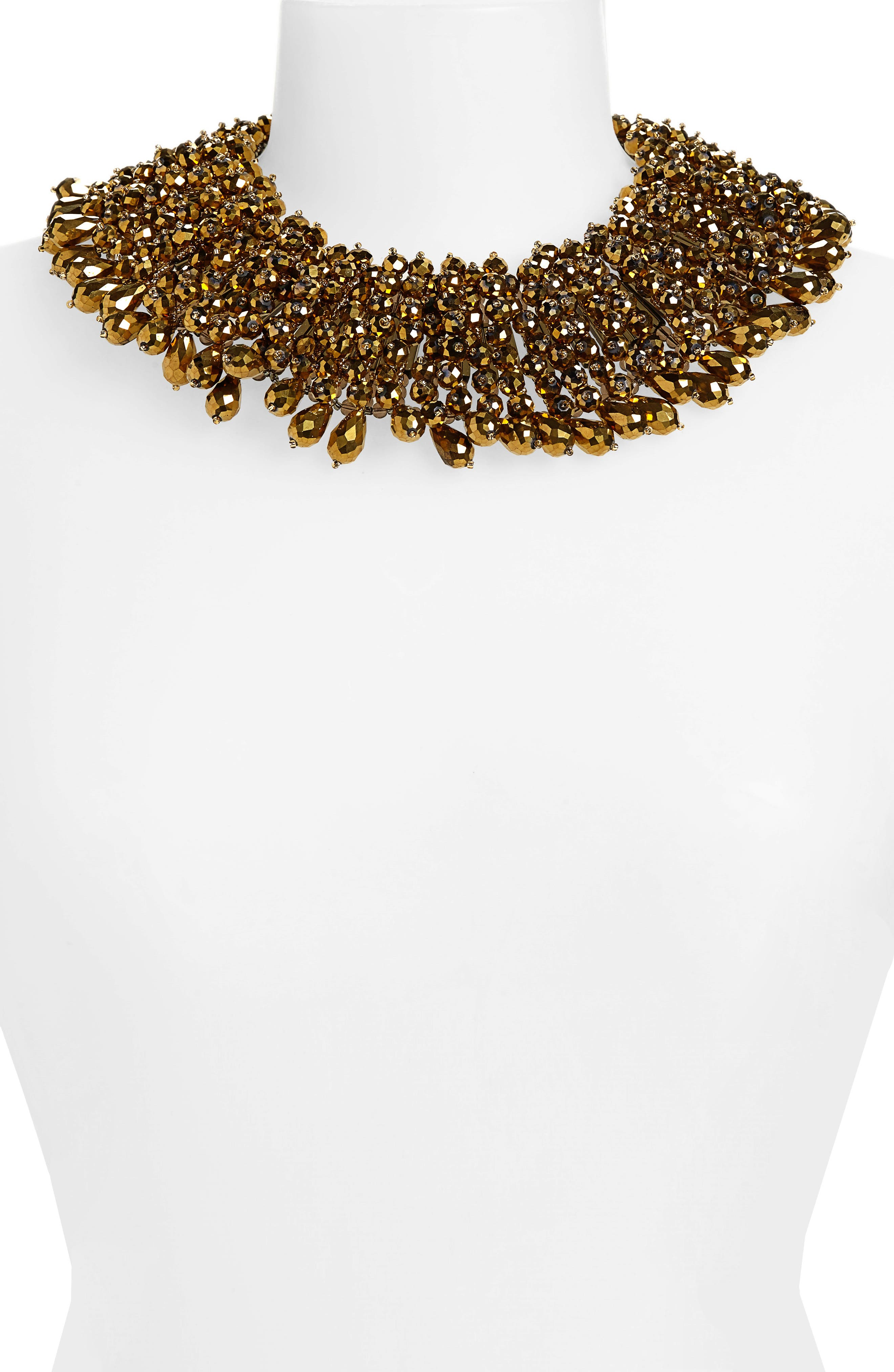Crystal Statement Collar Necklace,                             Alternate thumbnail 2, color,                             GOLD