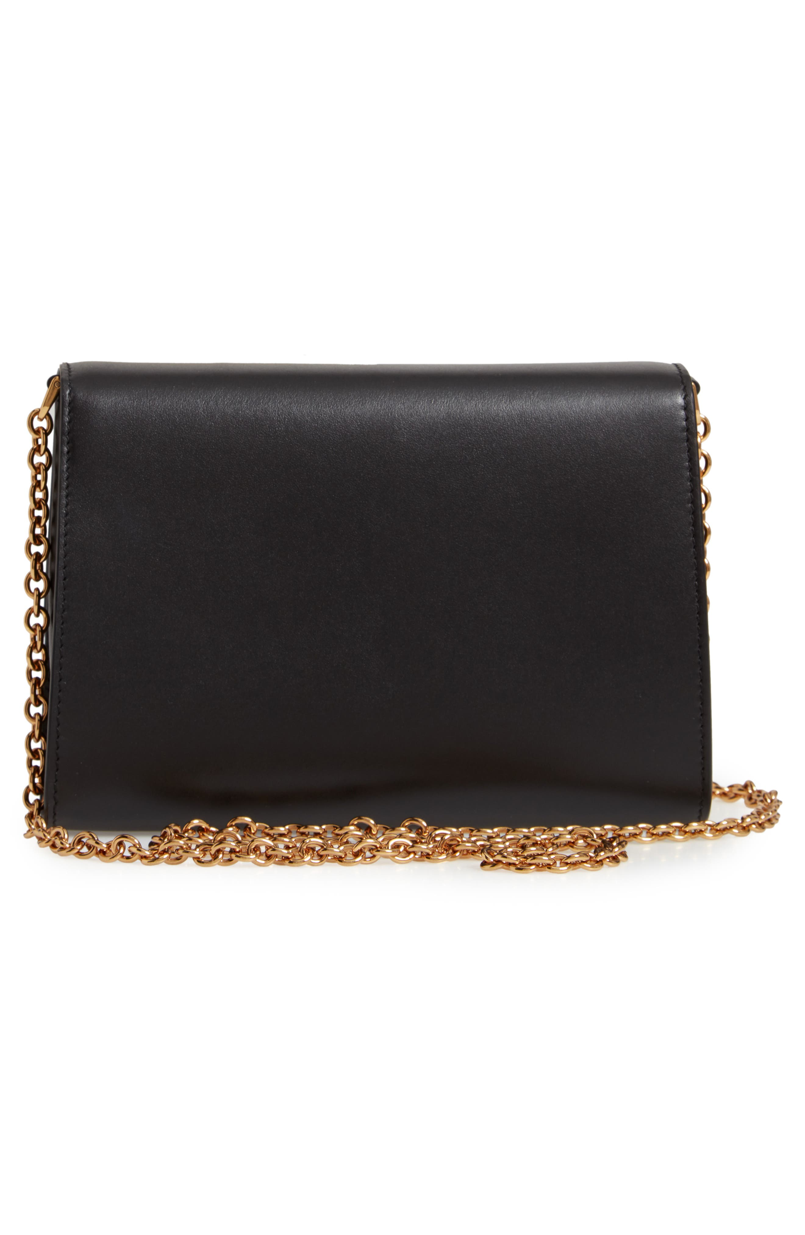 Leather Clutch,                             Alternate thumbnail 3, color,                             NERO