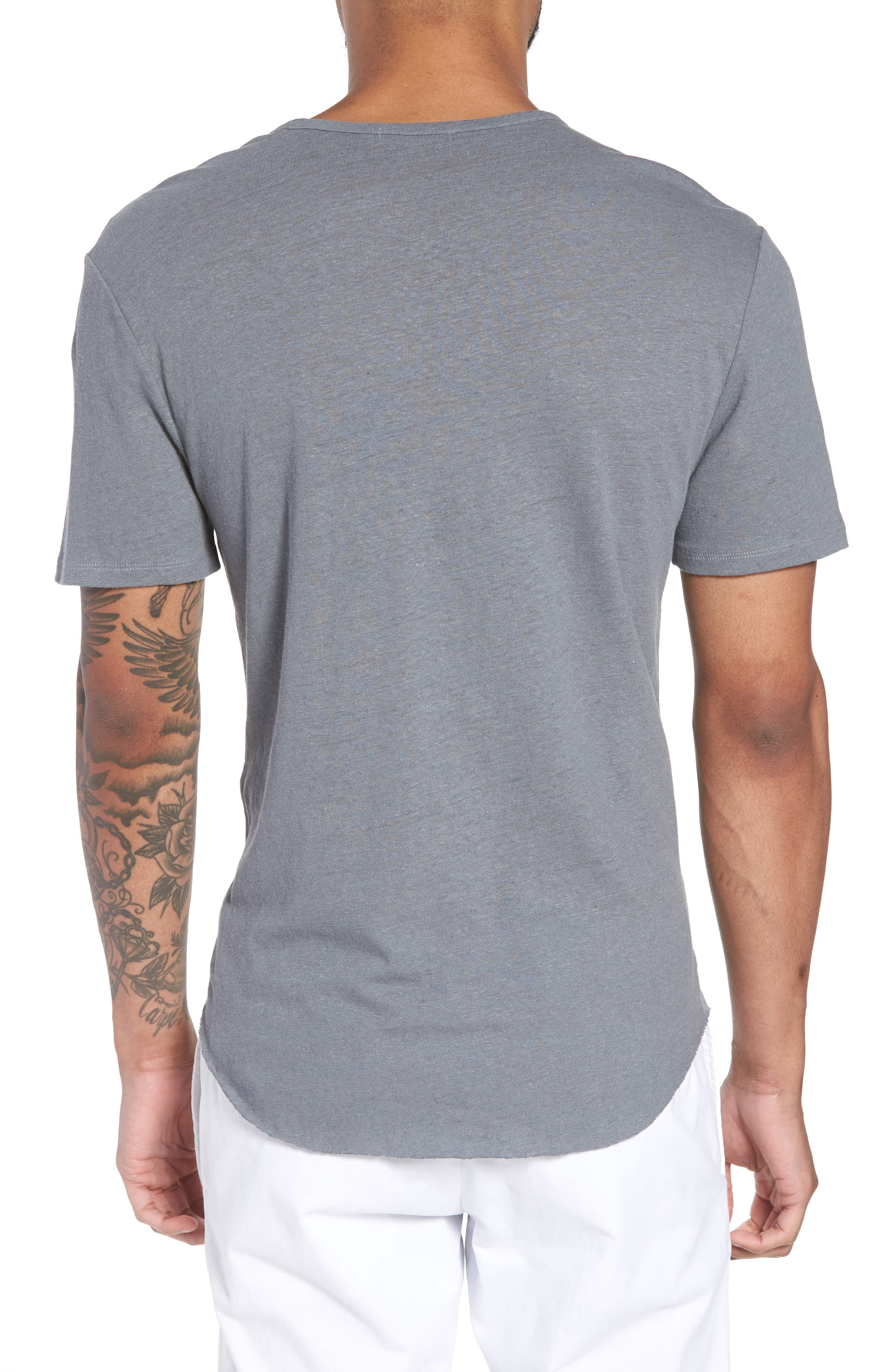 Raw Hem Linen & Cotton T-Shirt,                             Alternate thumbnail 2, color,                             SILVER