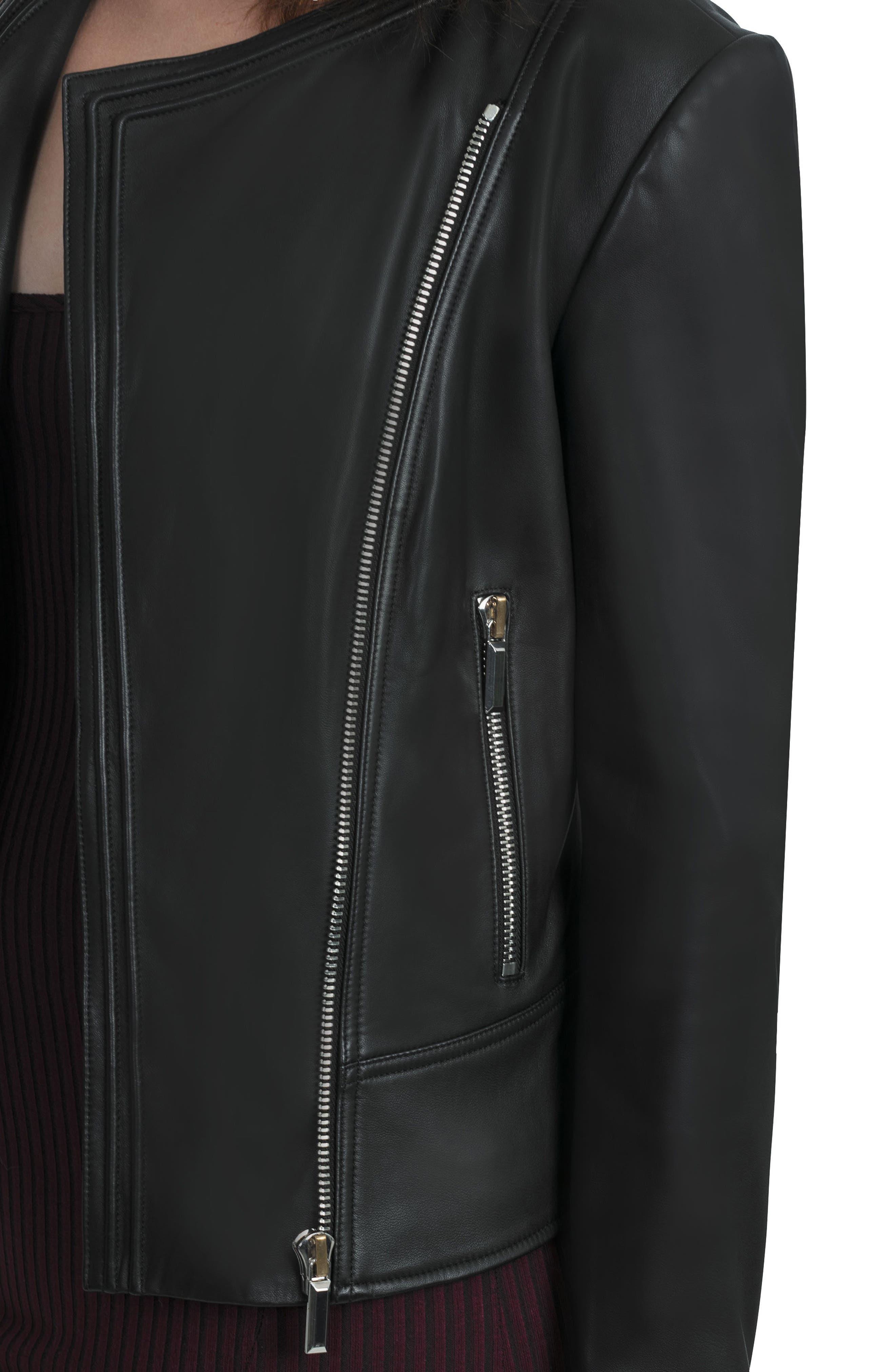 Bagatelle Pintucked Moto Jacket,                             Alternate thumbnail 4, color,                             001