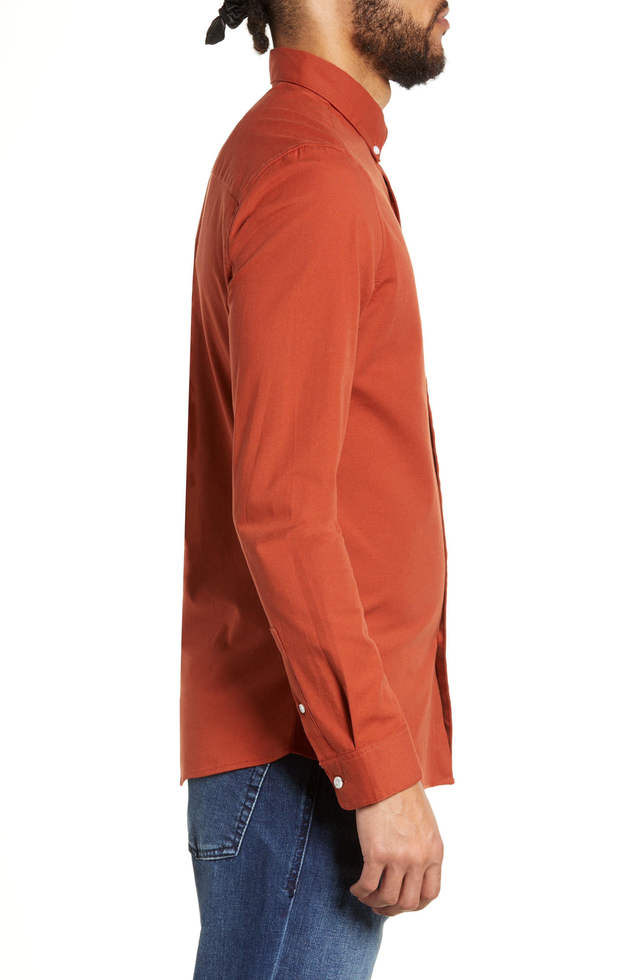 TOPMAN,                             Classic Fit Oxford Shirt,                             Alternate thumbnail 4, color,                             BROWN