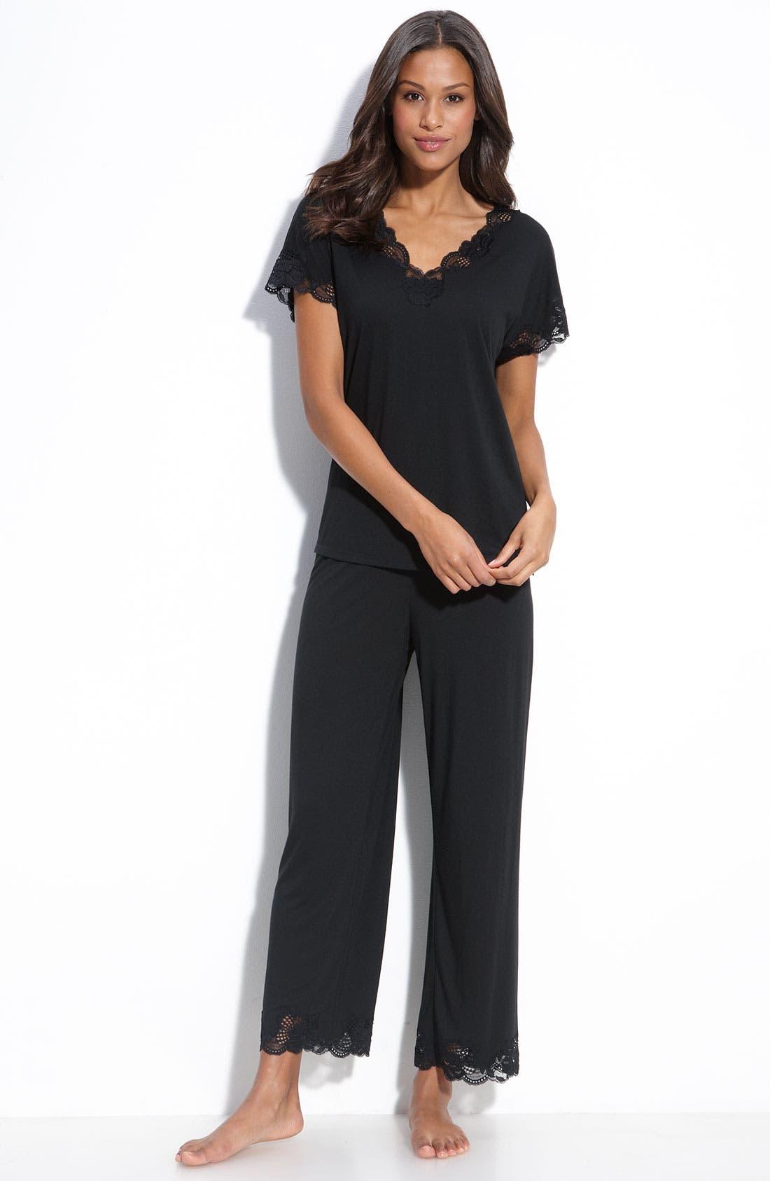 'Zen Floral' Pajama Set,                         Main,                         color, BLACK