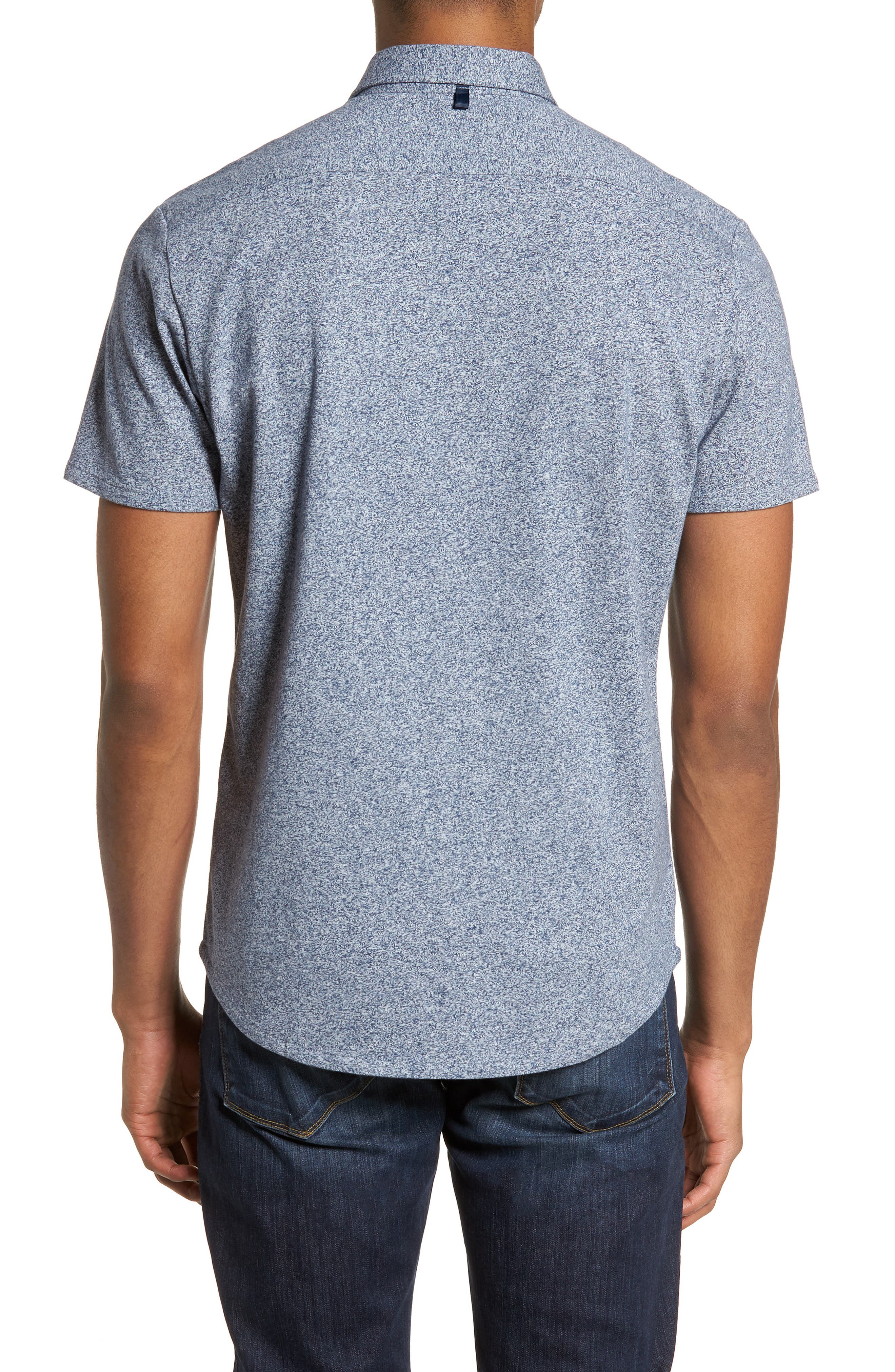 'Metropolitan' Knit Short Sleeve Sport Shirt,                             Alternate thumbnail 2, color,                             NAVY/ WHITE