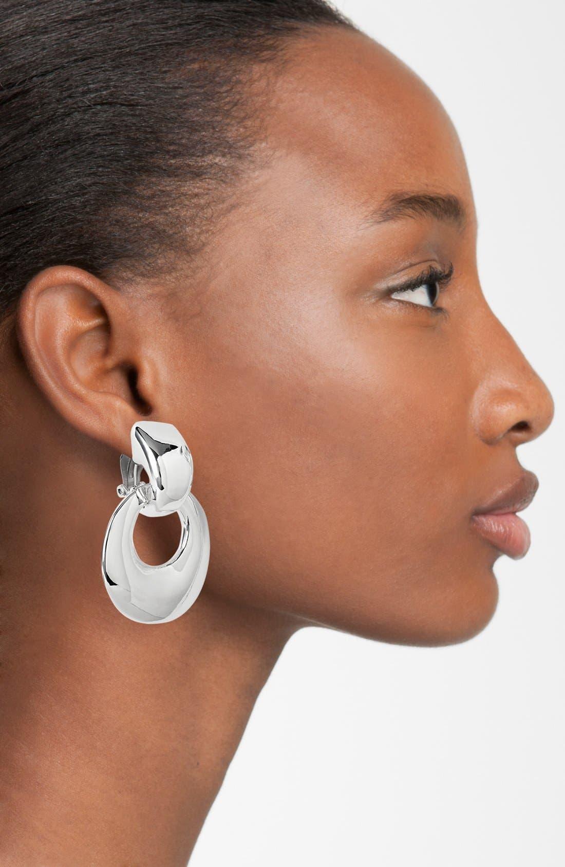 Doorknocker Clip Earrings,                             Alternate thumbnail 2, color,                             SILVER