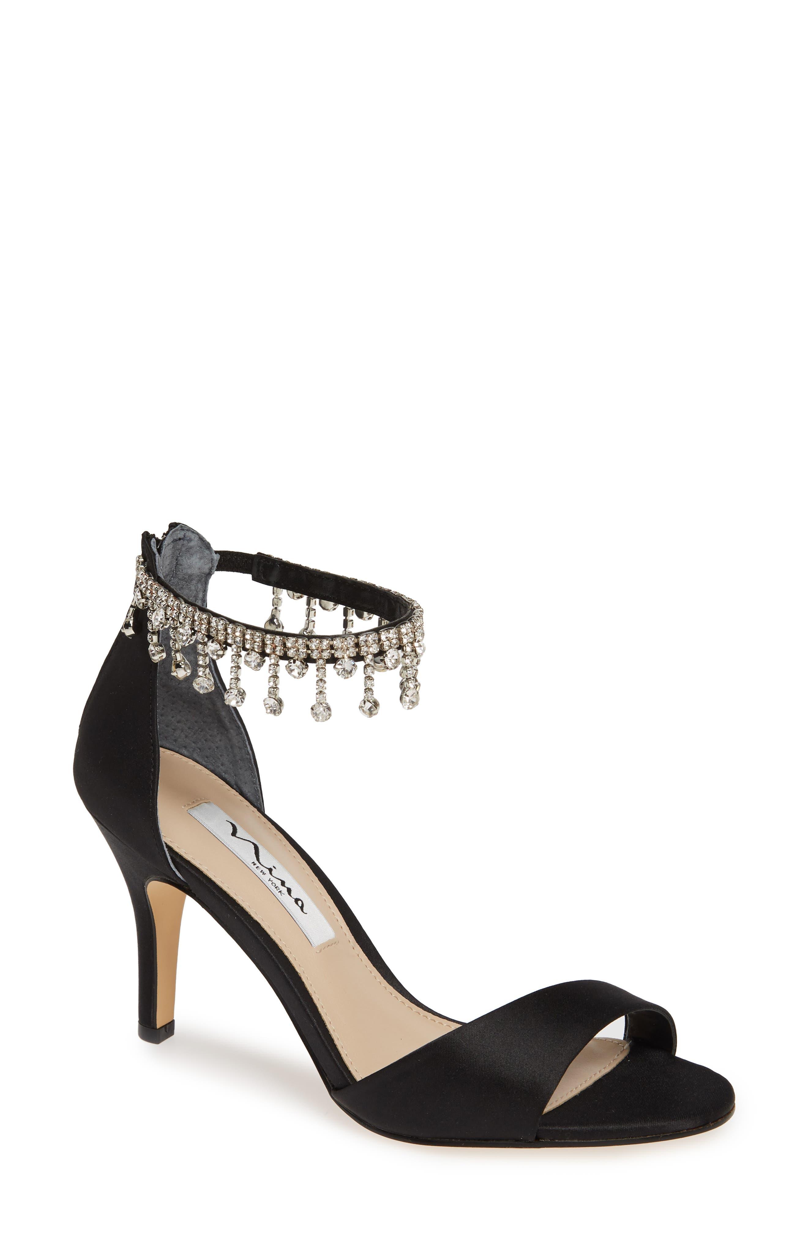 Vera Embellished Ankle Strap Sandal,                             Main thumbnail 1, color,                             BLACK SATIN