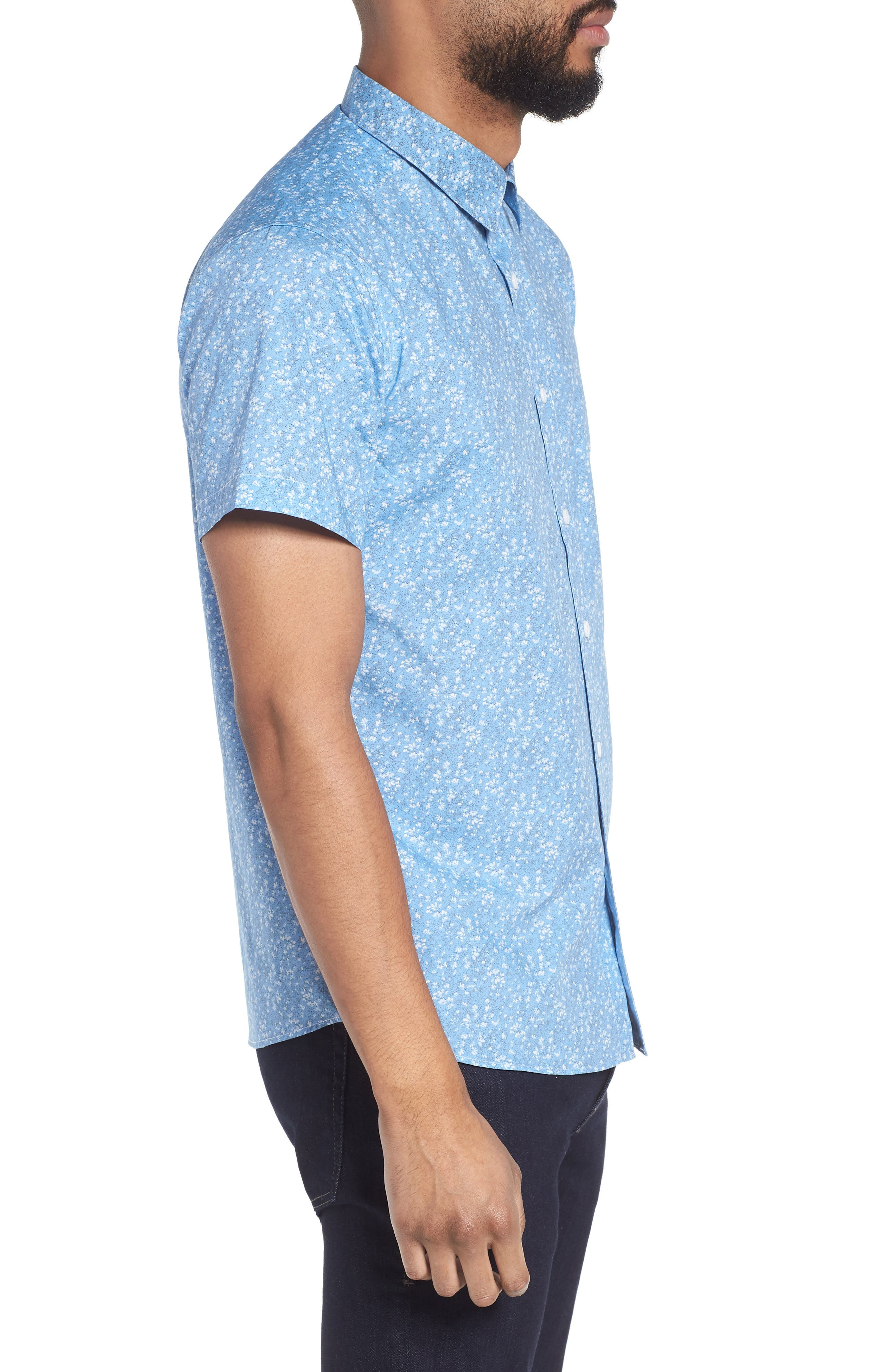 Print Woven Short Sleeve Shirt,                             Alternate thumbnail 3, color,                             463