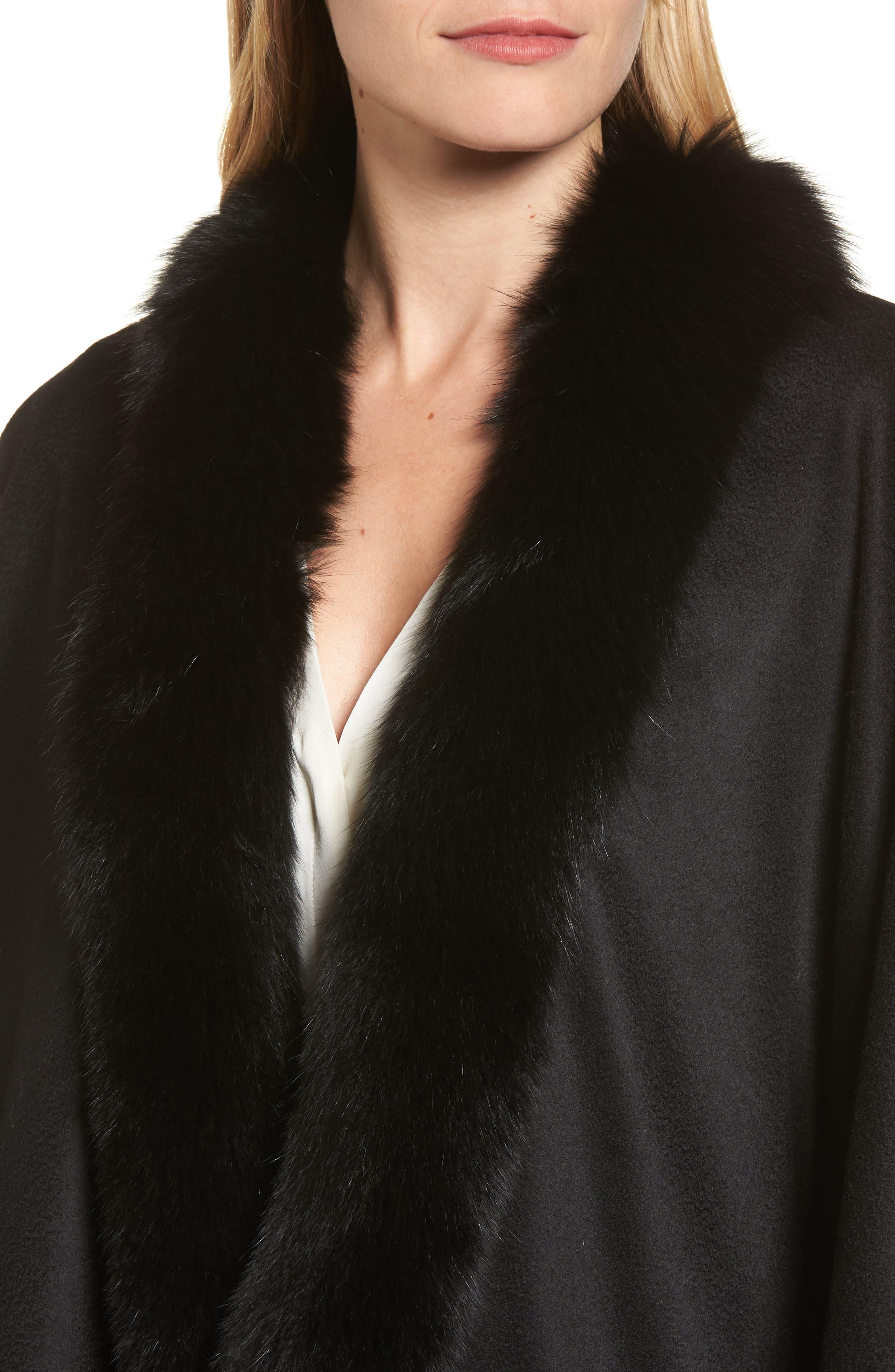 Genuine Fox Fur Trim Short Cashmere Cape,                             Alternate thumbnail 13, color,