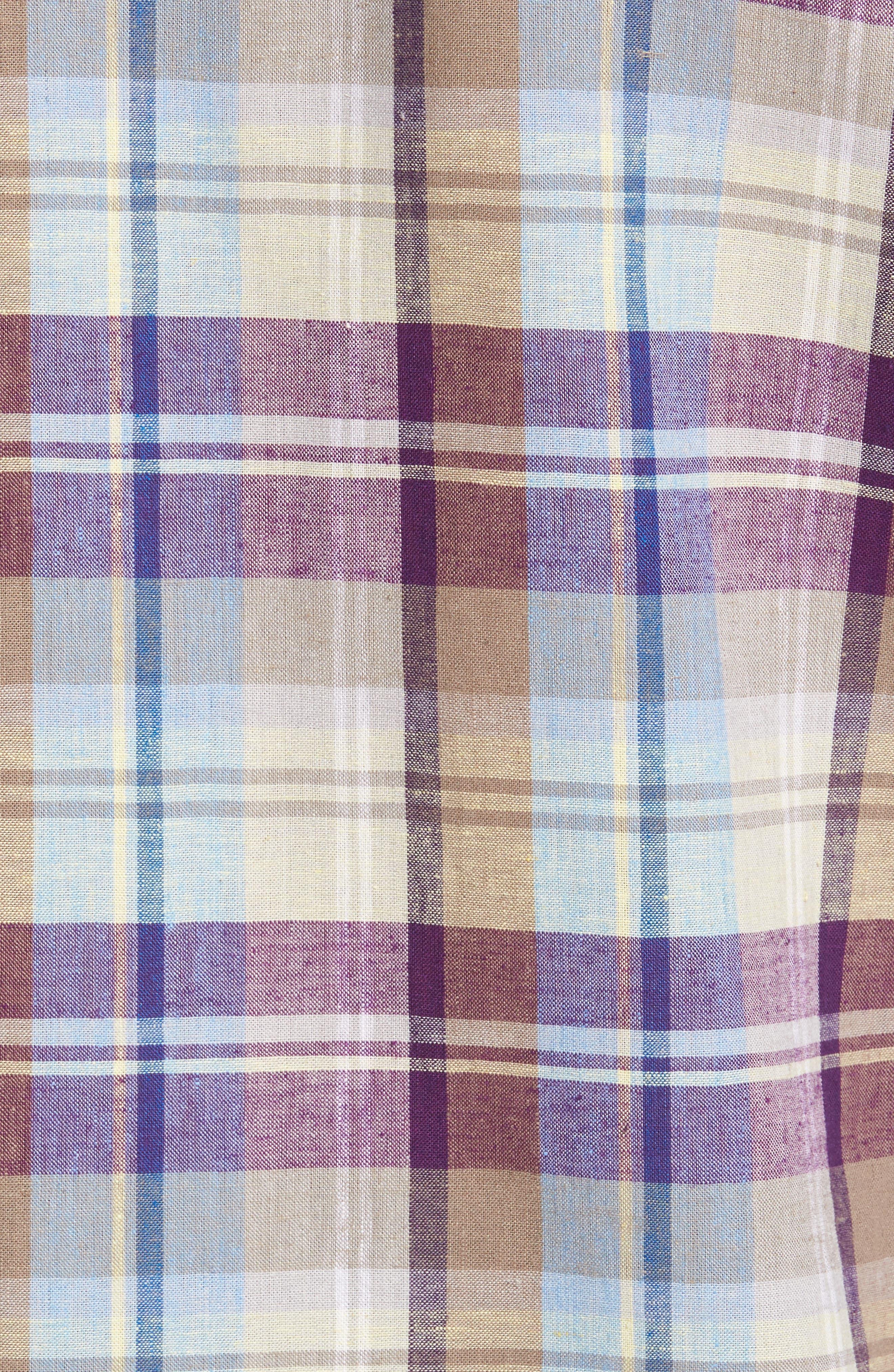 La Paz Plaid Linen Blend Sport Shirt,                             Alternate thumbnail 5, color,                             500