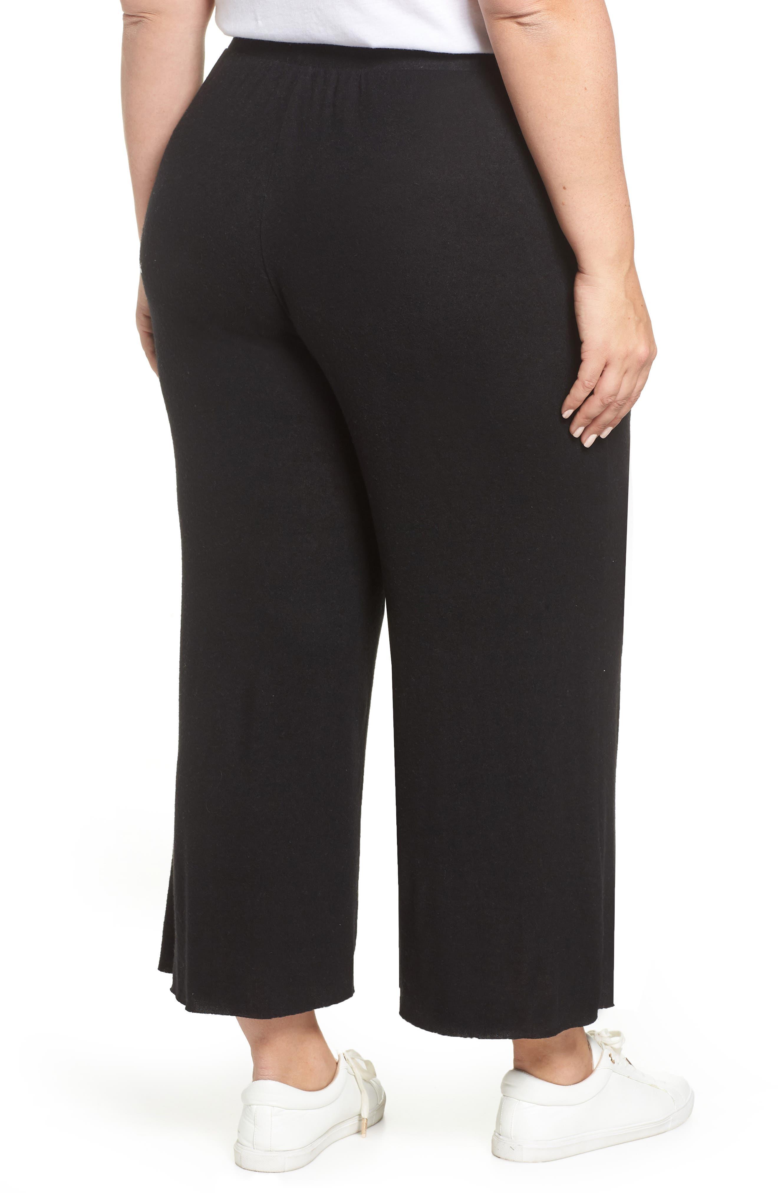 High Rise Wide Leg Knit Crop Pants,                             Alternate thumbnail 2, color,                             BLACK