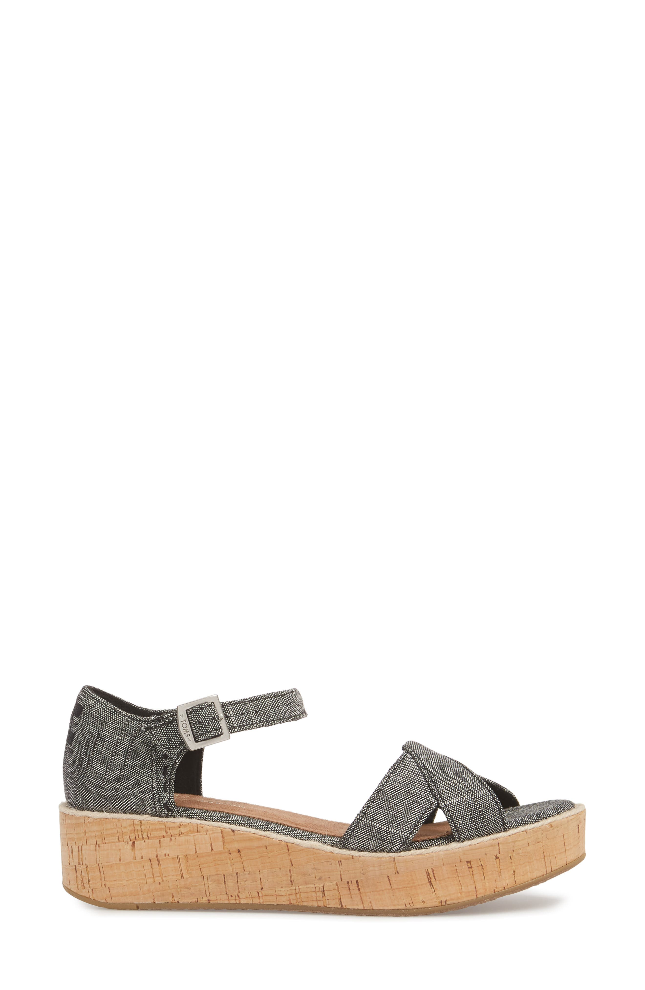 Harper Platform Sandal,                             Alternate thumbnail 3, color,                             001